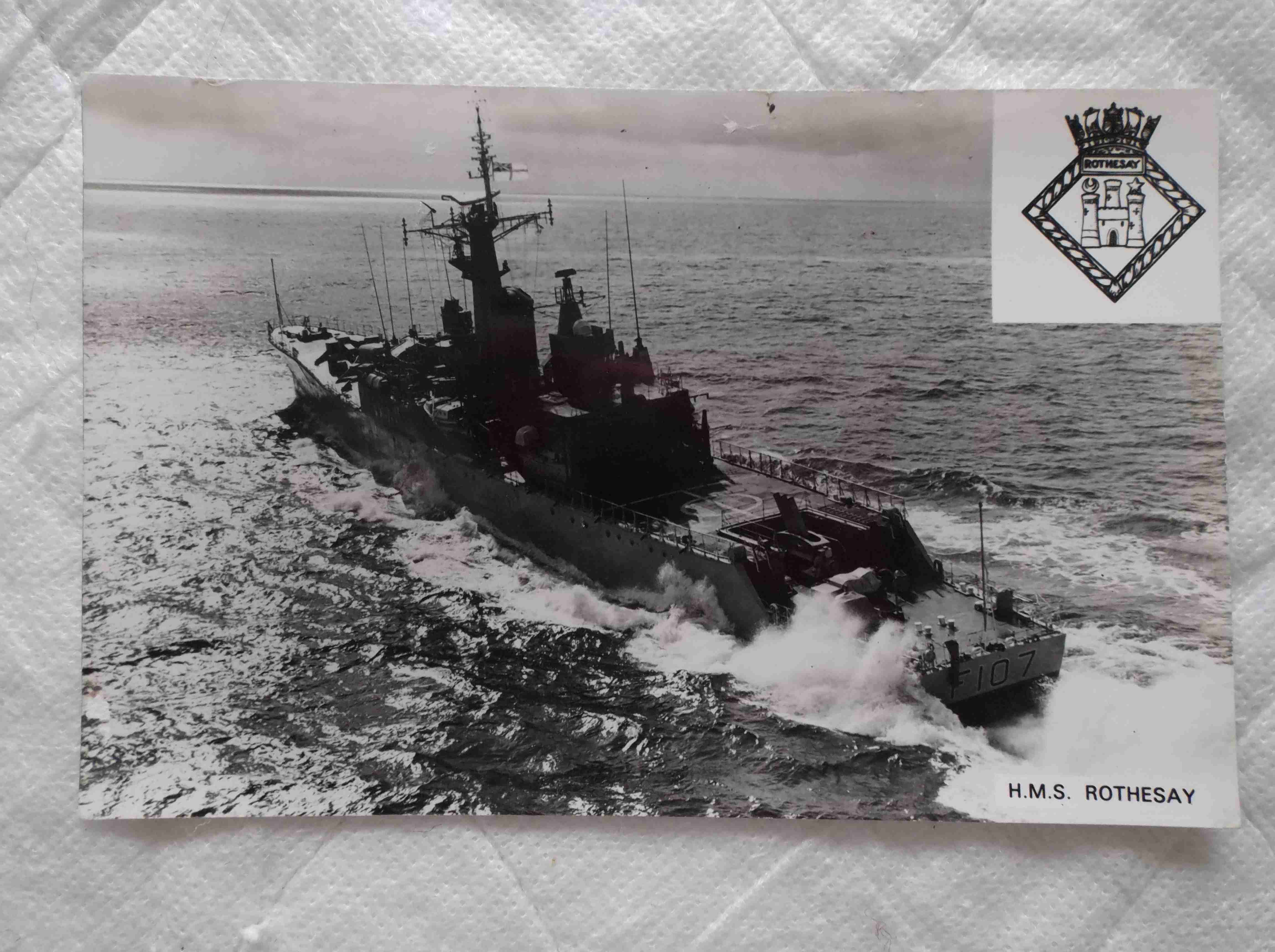 POSTCARD SIZE PHOTOGRAPH OF THE ROYAL NAVAL VESSEL HMS ROTHESAY