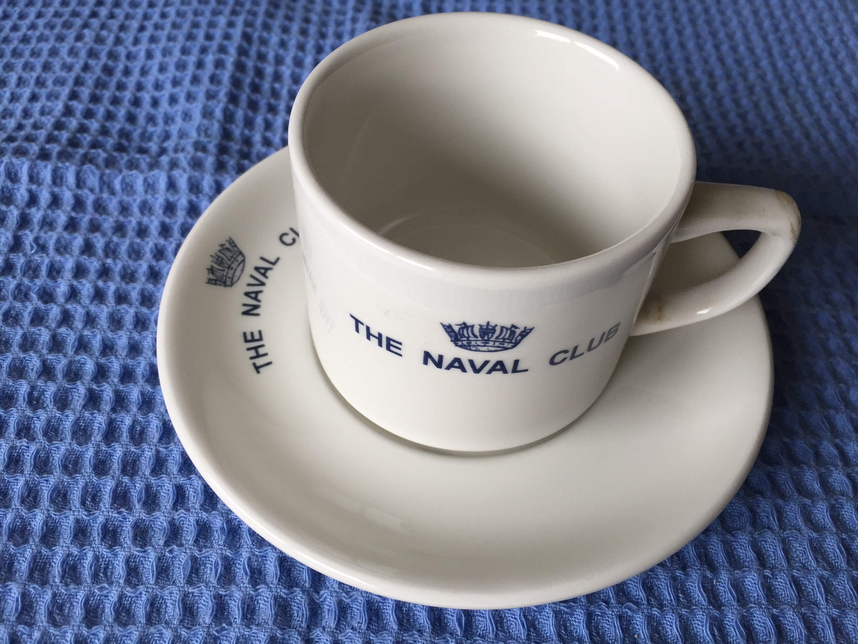 SOUVENIR CUP & SAUCER FROM THE NAVAL CLUB