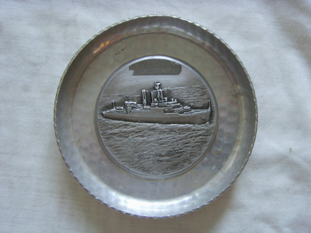 SILVER-PLATED DISH SOUVENIR OF THE AMERICAN DESTROYER 'SAN MARCOS'
