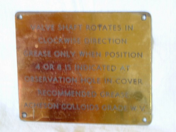 BRASS PLATE (PLAQUE) FROM A WW2 NAVAL VESSEL