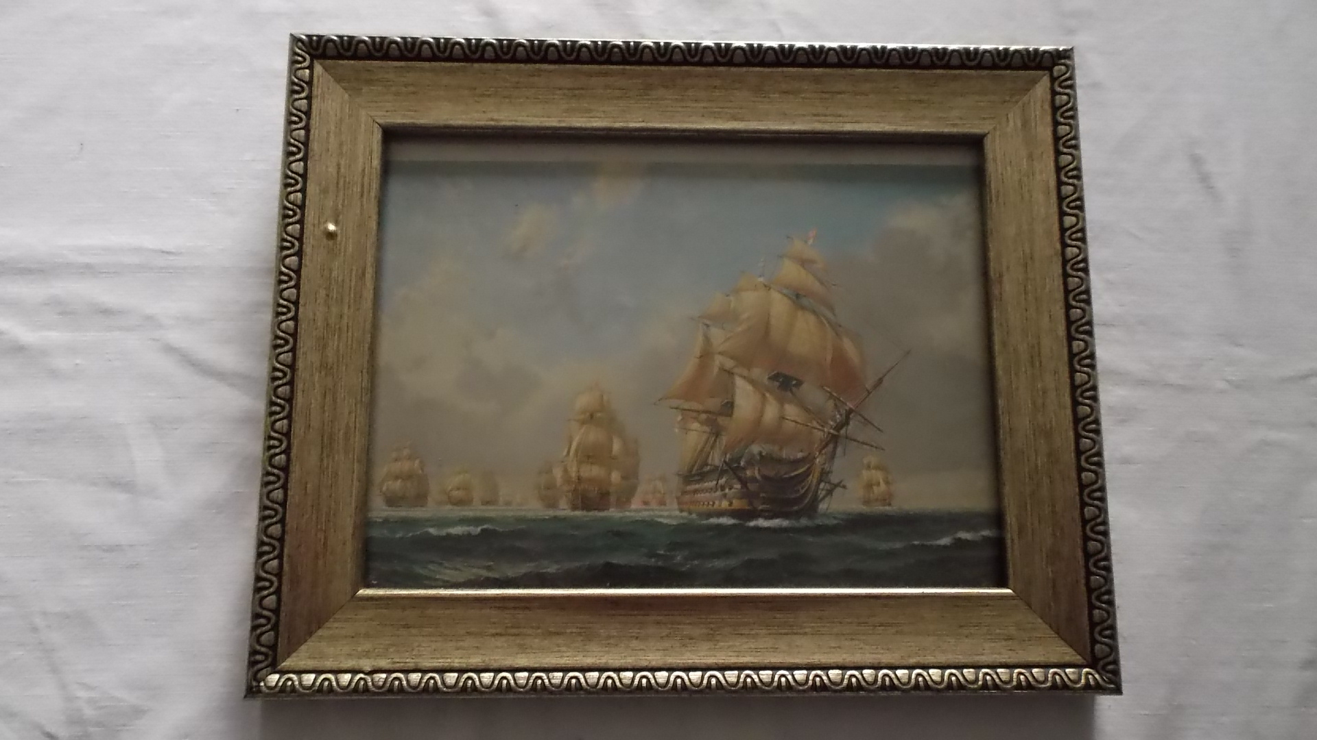 PAIR OF FRAMED PICTURES EACH SHOWING A BATTLE OF TRAFALGAR SCENE