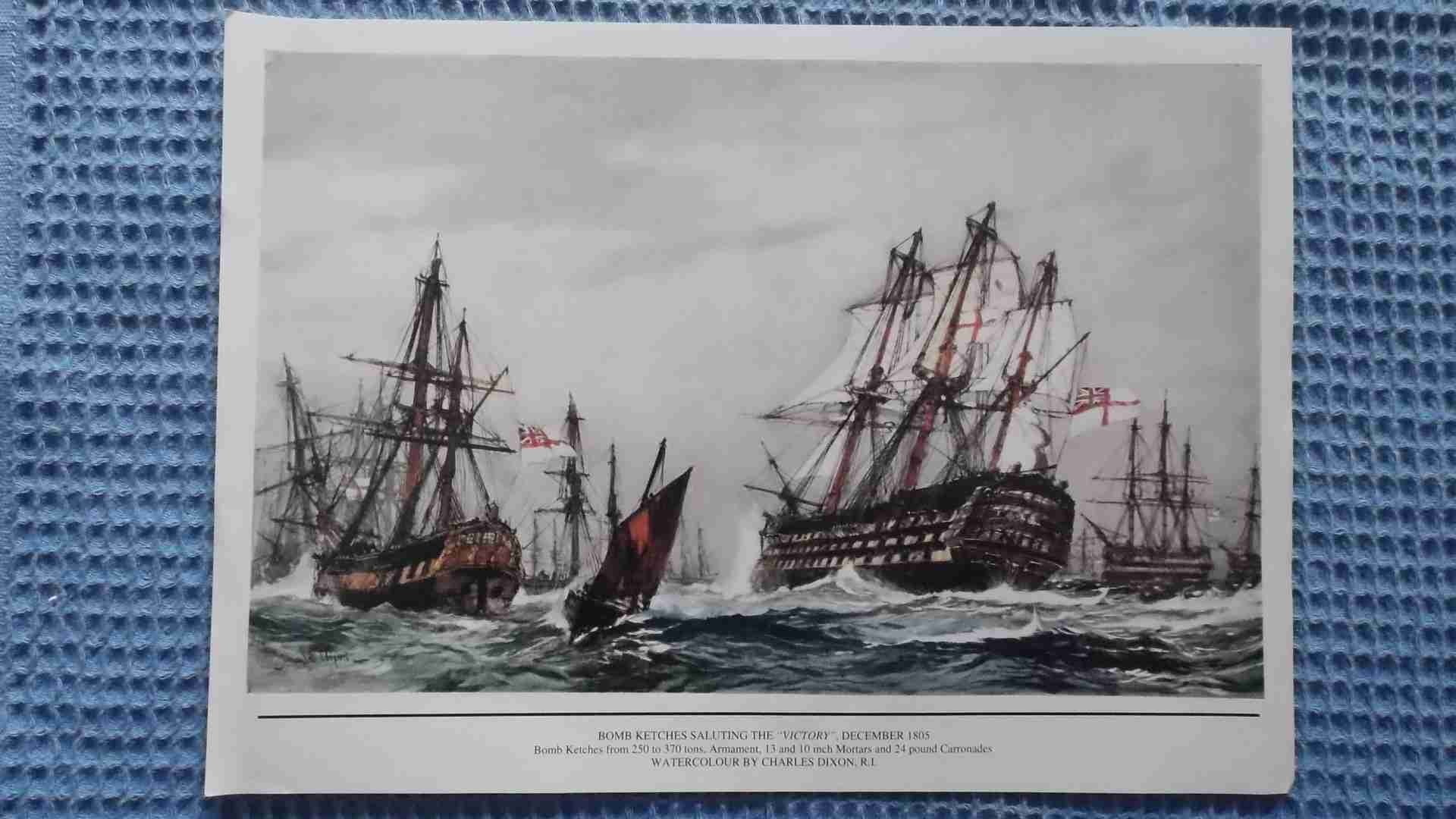 COPY OF A WATER COLOUR FROM CHARLES DIXON SHOWING THE FAMOUS BATTLE OF TRAFALGAR