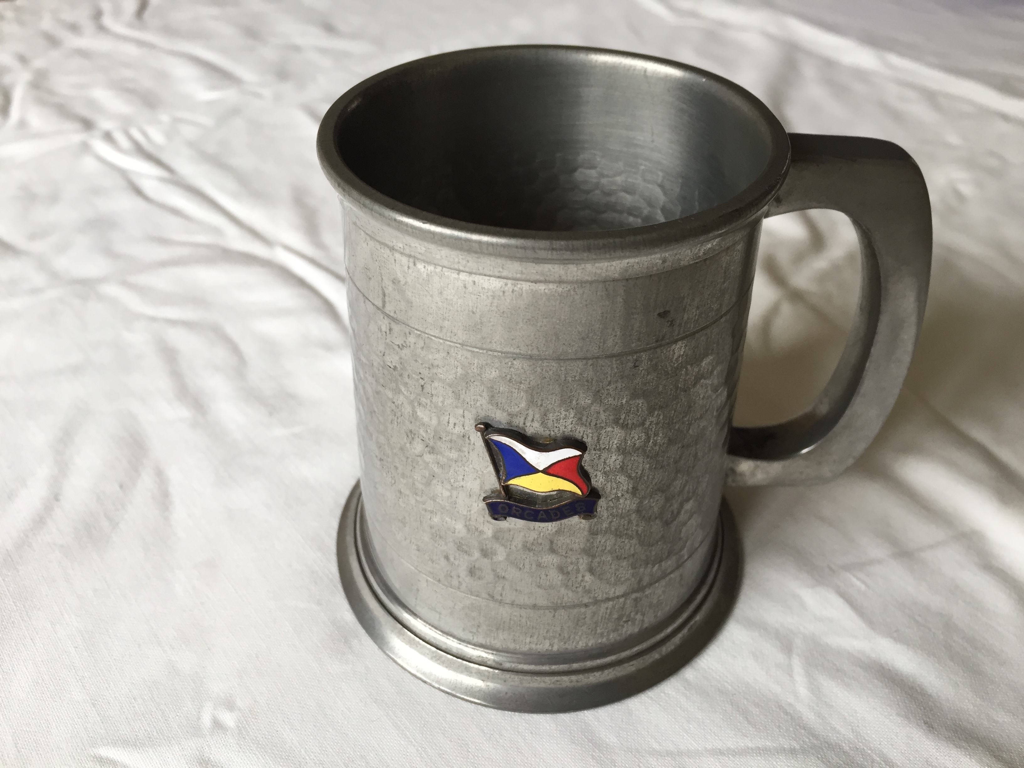 SMALL SOUVENIR TANKARD FROM THE ORIENT LINE VESSEL THE RMS ORCADES