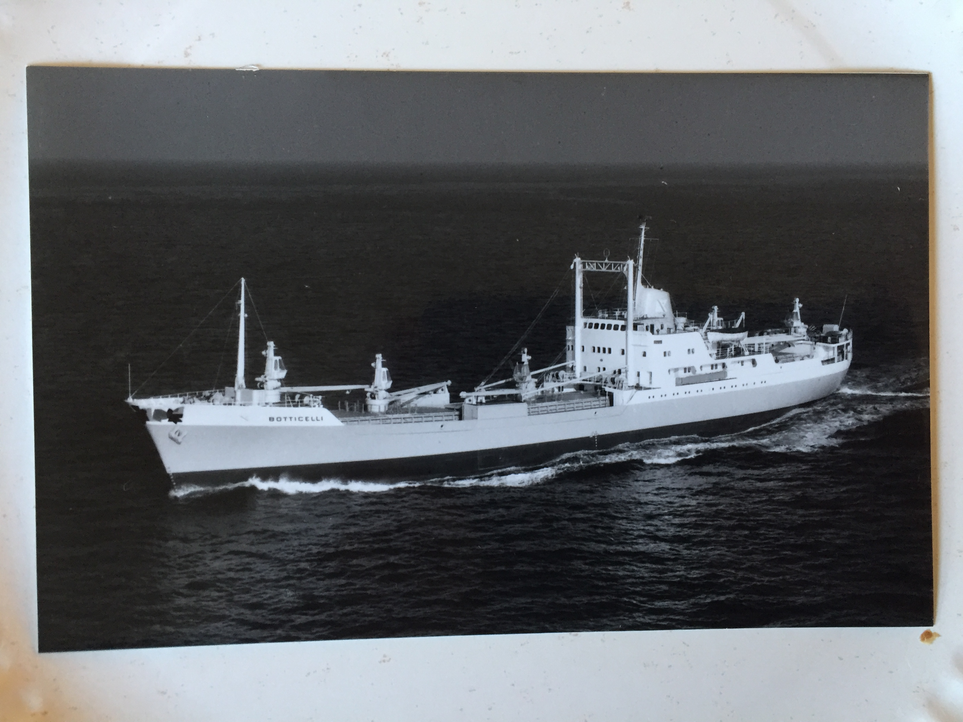 B/W PHOTOGRAPH OF THE FRED OLSEN LINE VESSEL THE BOTTICELLI