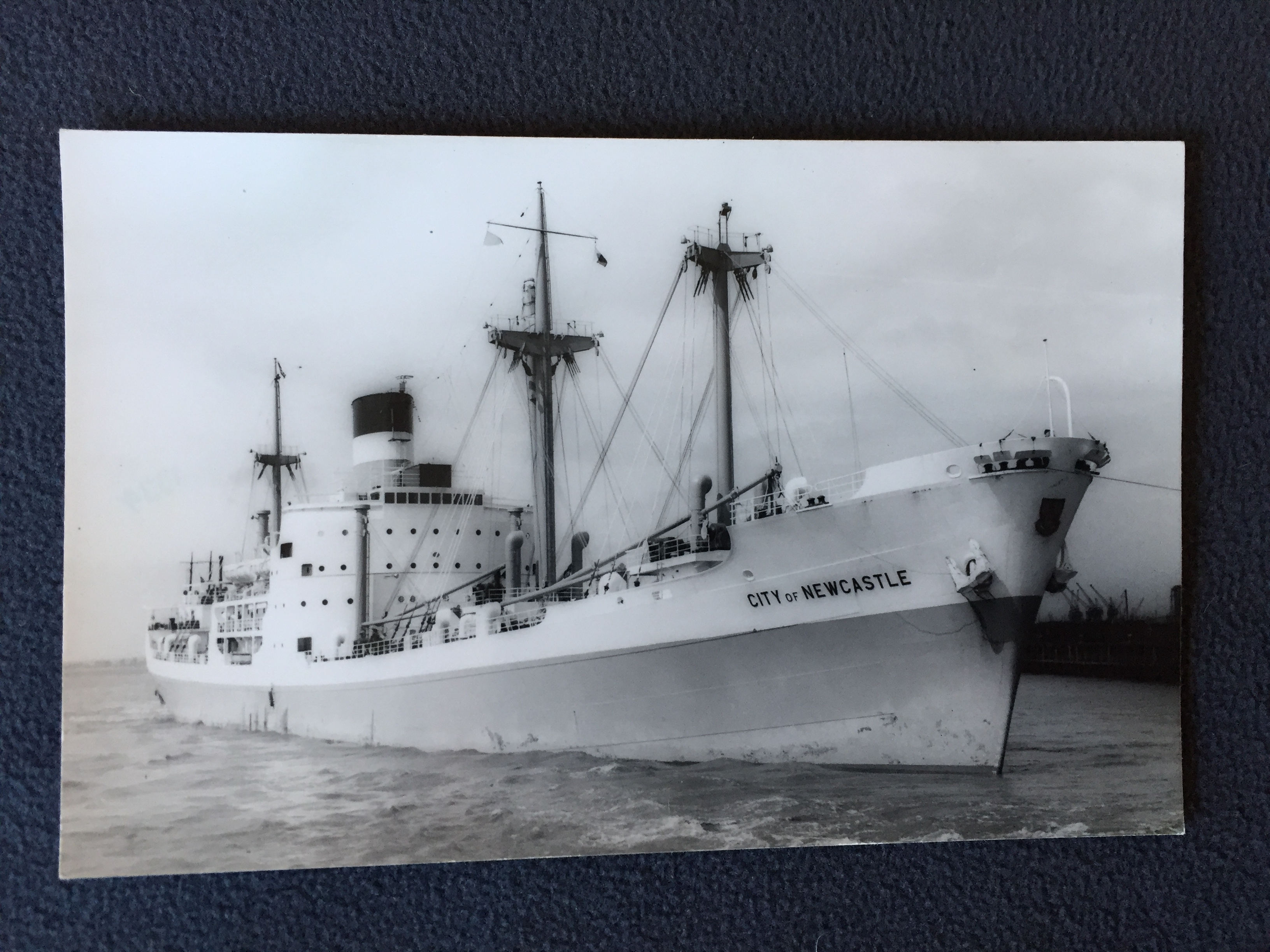 B&W PHOTOGRAPH FROM THE VESSEL CITY OF NEWCASTLE FROM THE ELLERMAN LINE