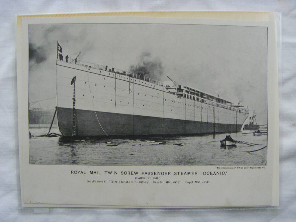 B/W PICTURE OF THE WHITE STAR LINE VESSEL THE OCEANIC