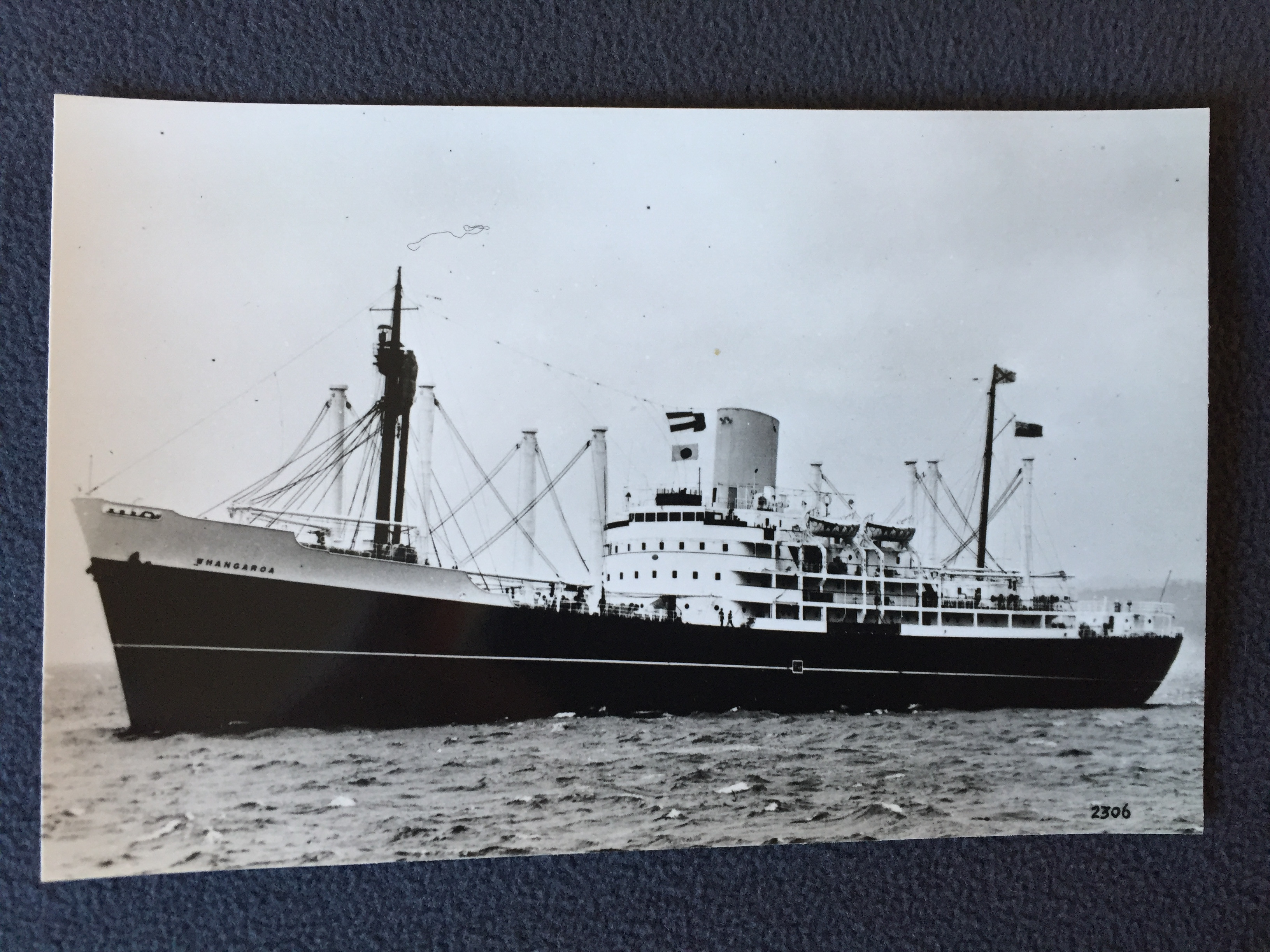 B&W PHOTOGRAPH FROM THE VESSEL WHANGAROA FROM THE BISNCo.