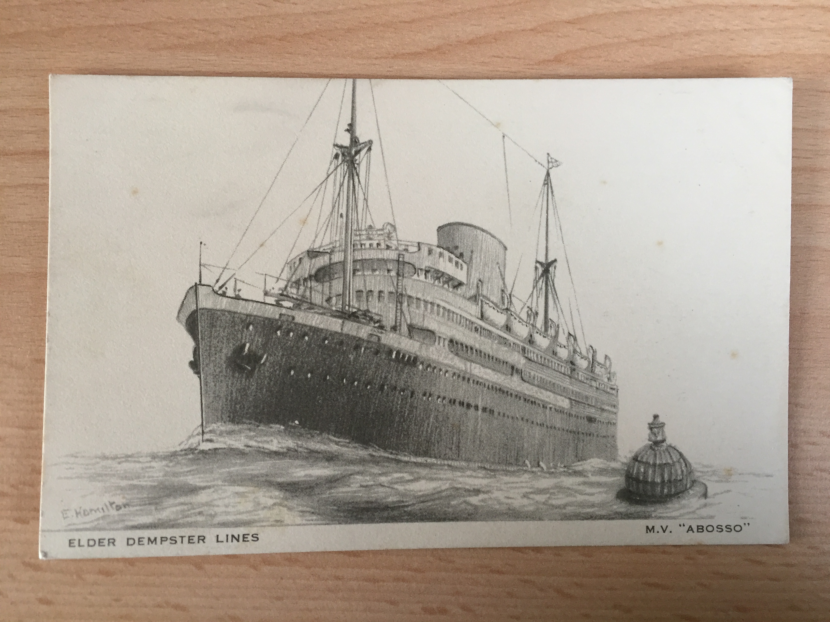 UNUSED VERY EARLY B/W POSTCARD FROM THE ELDER DEMPSTER LINE VESSEL THE ABOSSO