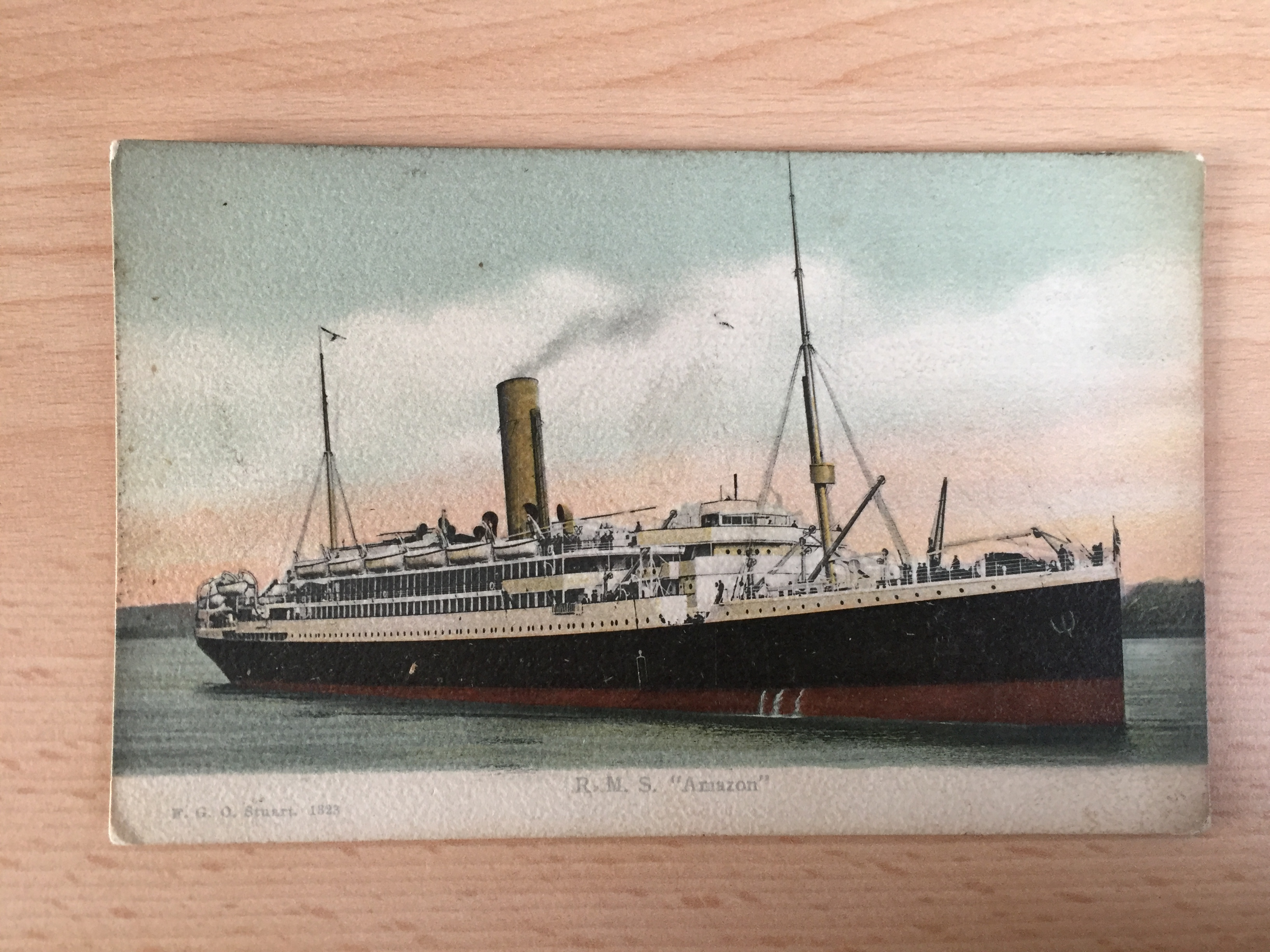 EARLY COLOUR POSTCARD FROM THE ROYAL MAIL LINE VESSEL THE RMS AMAZON WHICH IS UNUSED