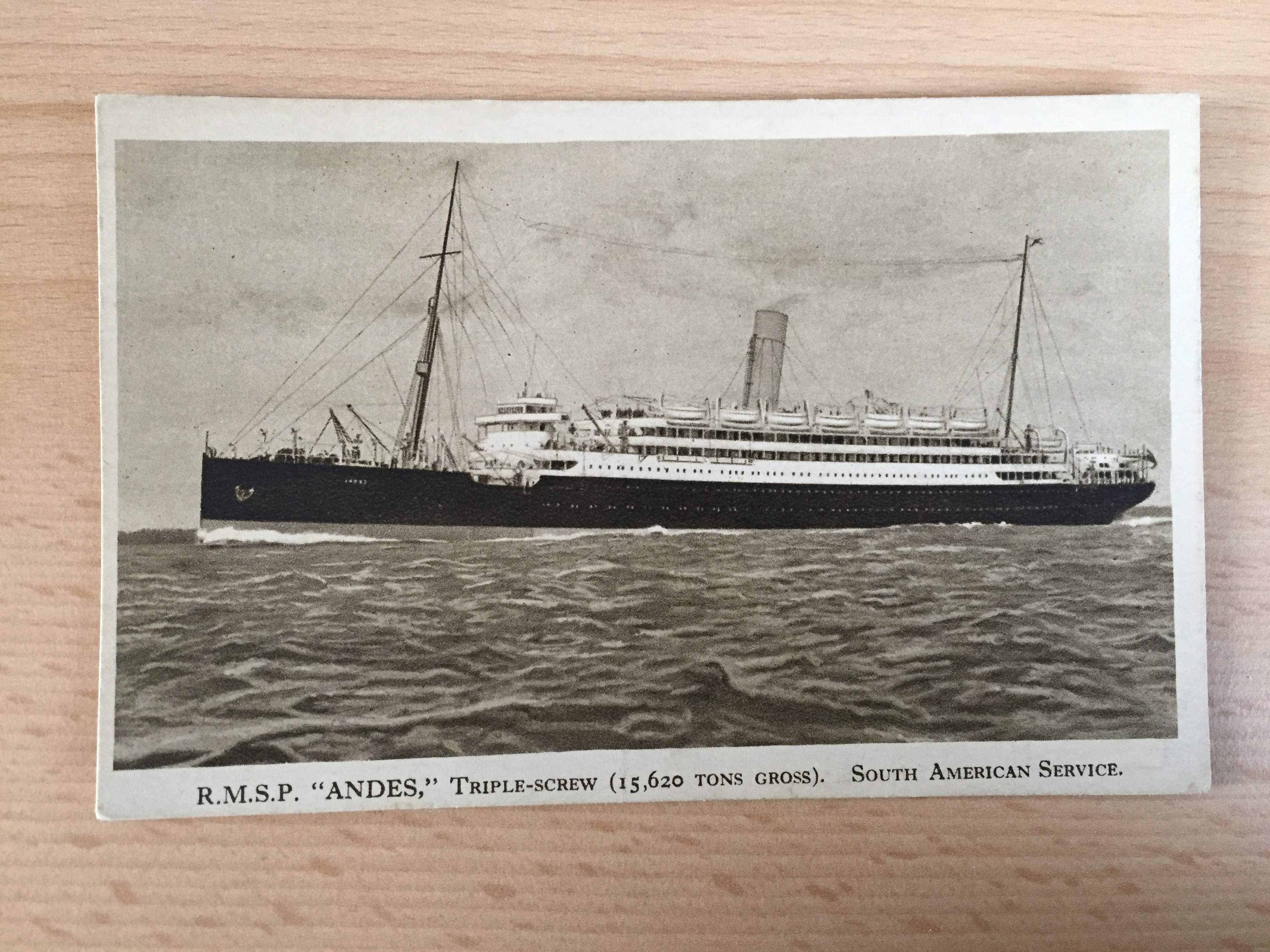 VERY EARLY UNUSED POSTCARD FROM THE ROYAL MAIL LINE VESSEL THE ANDES