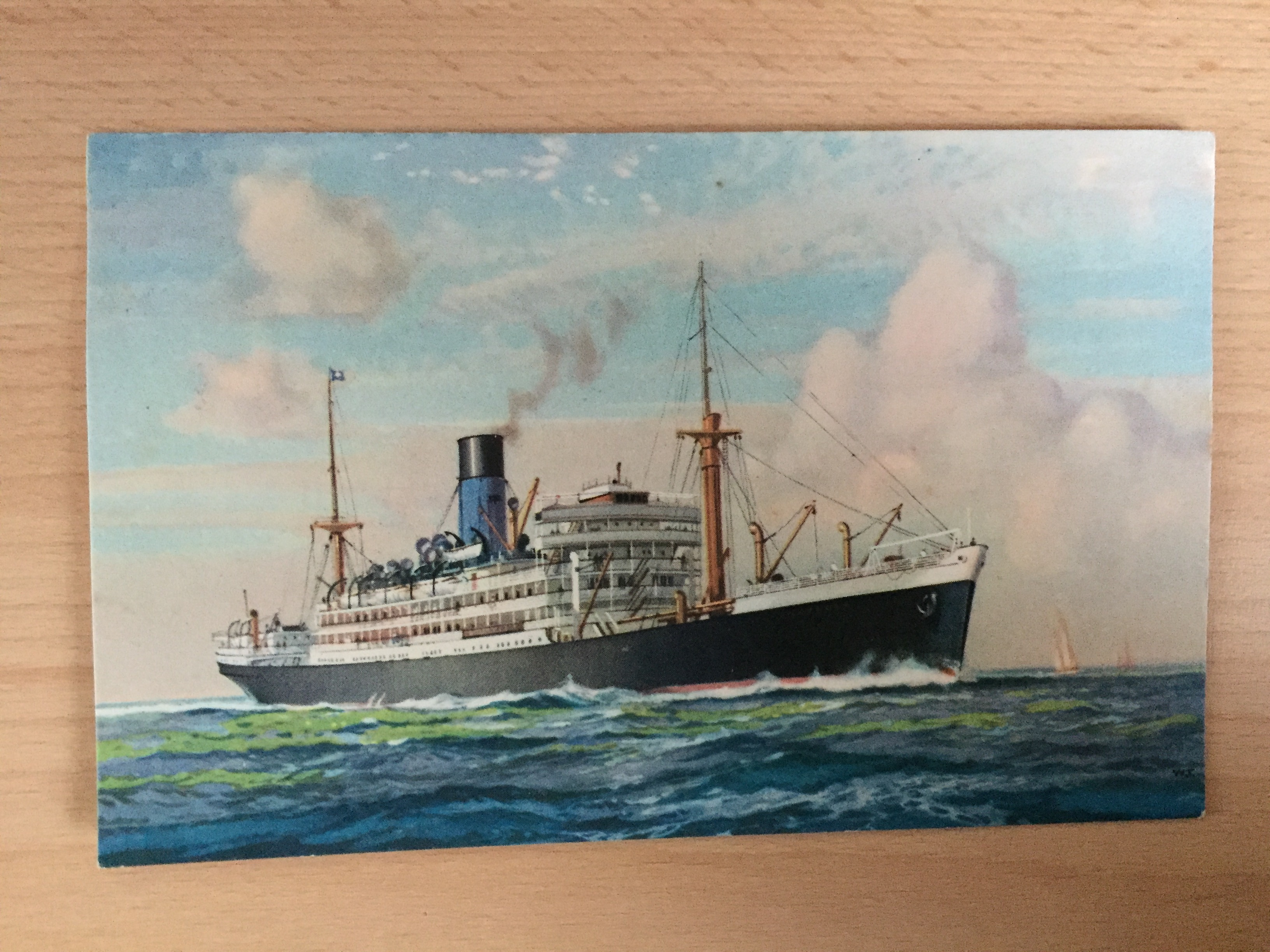 VERY EARLY COLOUR POSTCARD FROM THE BLUE FUNNEL LINE VESSEL THE ANTENOR
