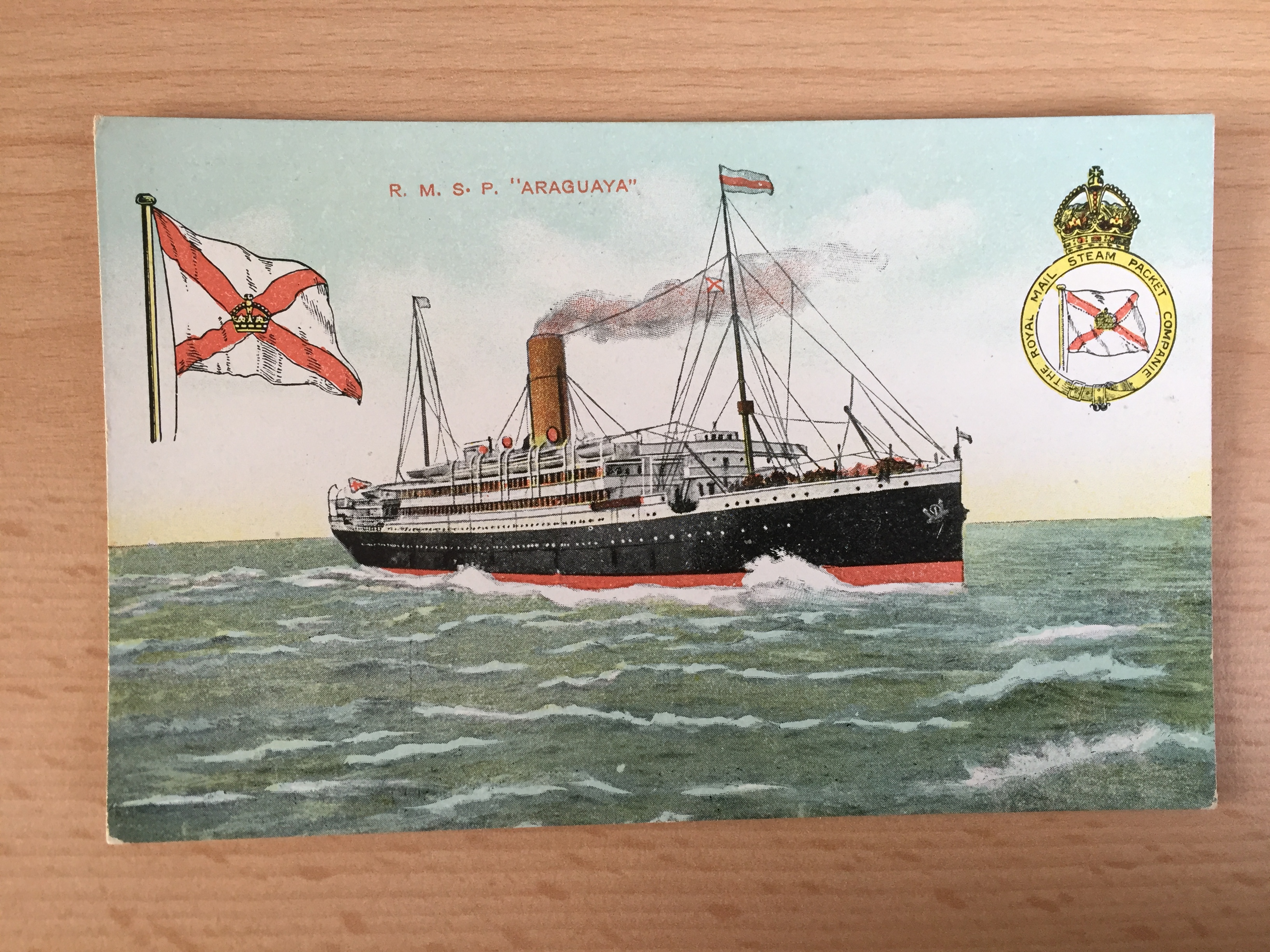 UNUSED POSTCARD FROM THE ROYAL MAIL LINE VESSEL THE ARAGUAYA