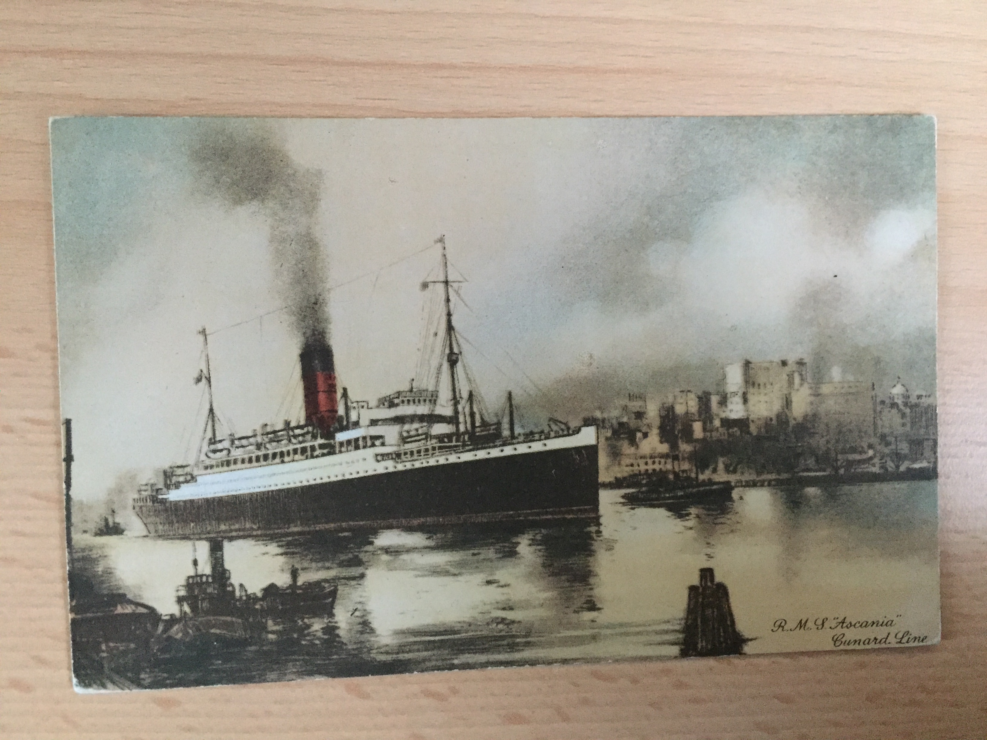 EARLY SEPIA COLOUR POSTCARD FROM THE RMS ASCANIA OF THE CUNARD LINE