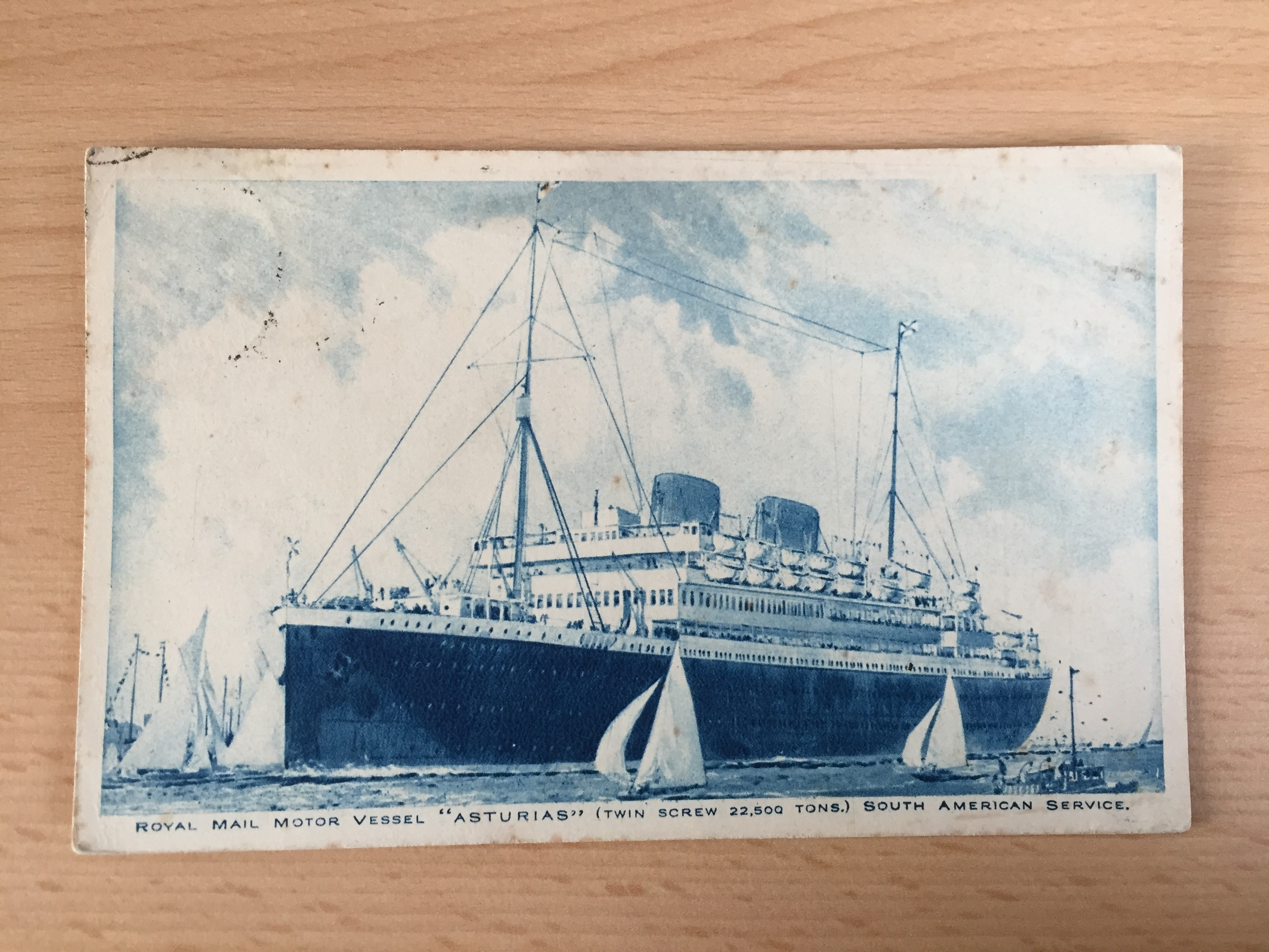 EARLY USED COLOUR POSTCARD FROM THE ROYAL MAIL LINE VESSEL THE ASTURIAS WHICH WAS POSTED 23rd MARCH 1926