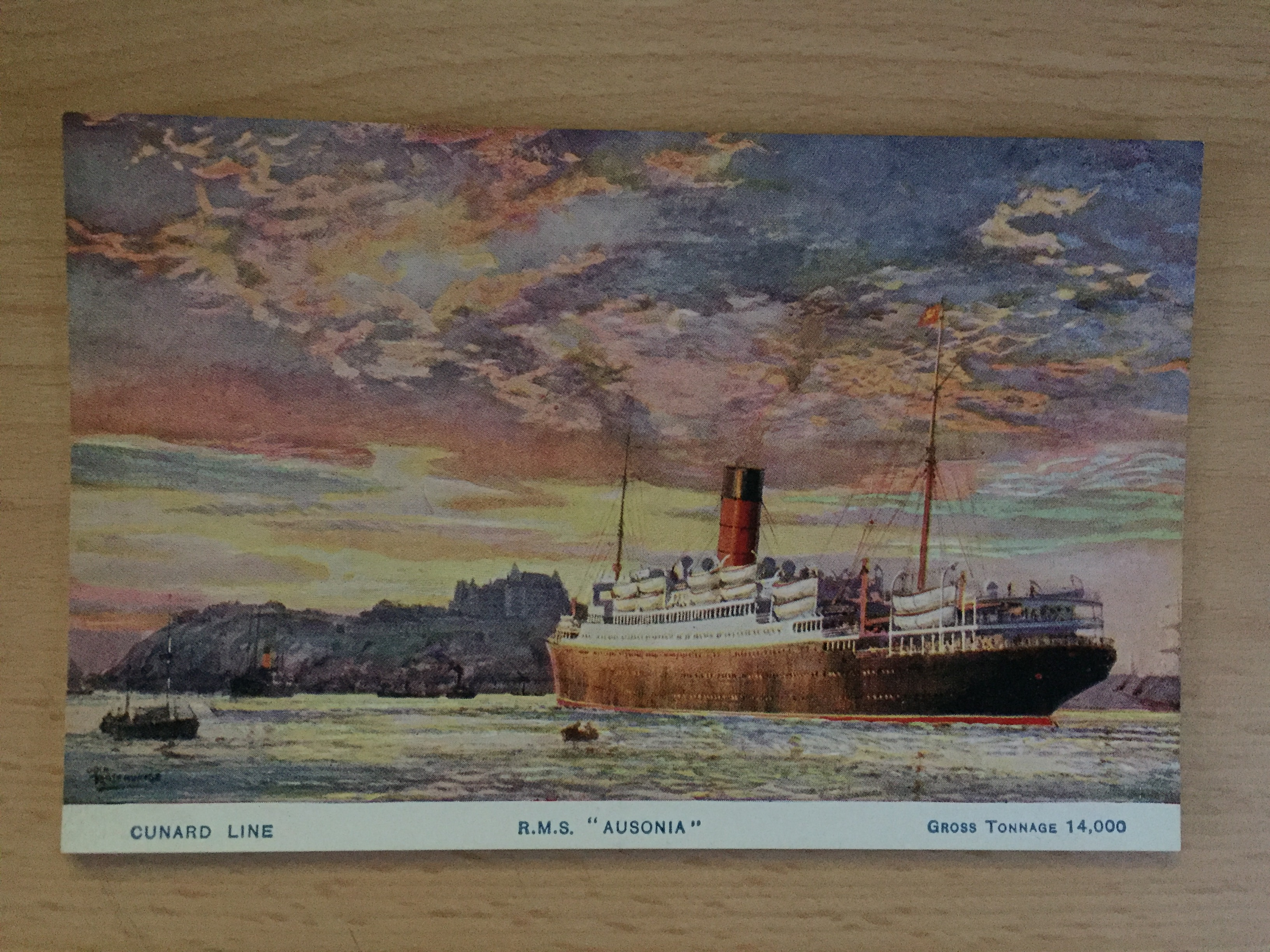 USED COLOUR POSTCARD FROM THE CUNARD WHITE STAR LINE VESSEL THE AUSONIA
