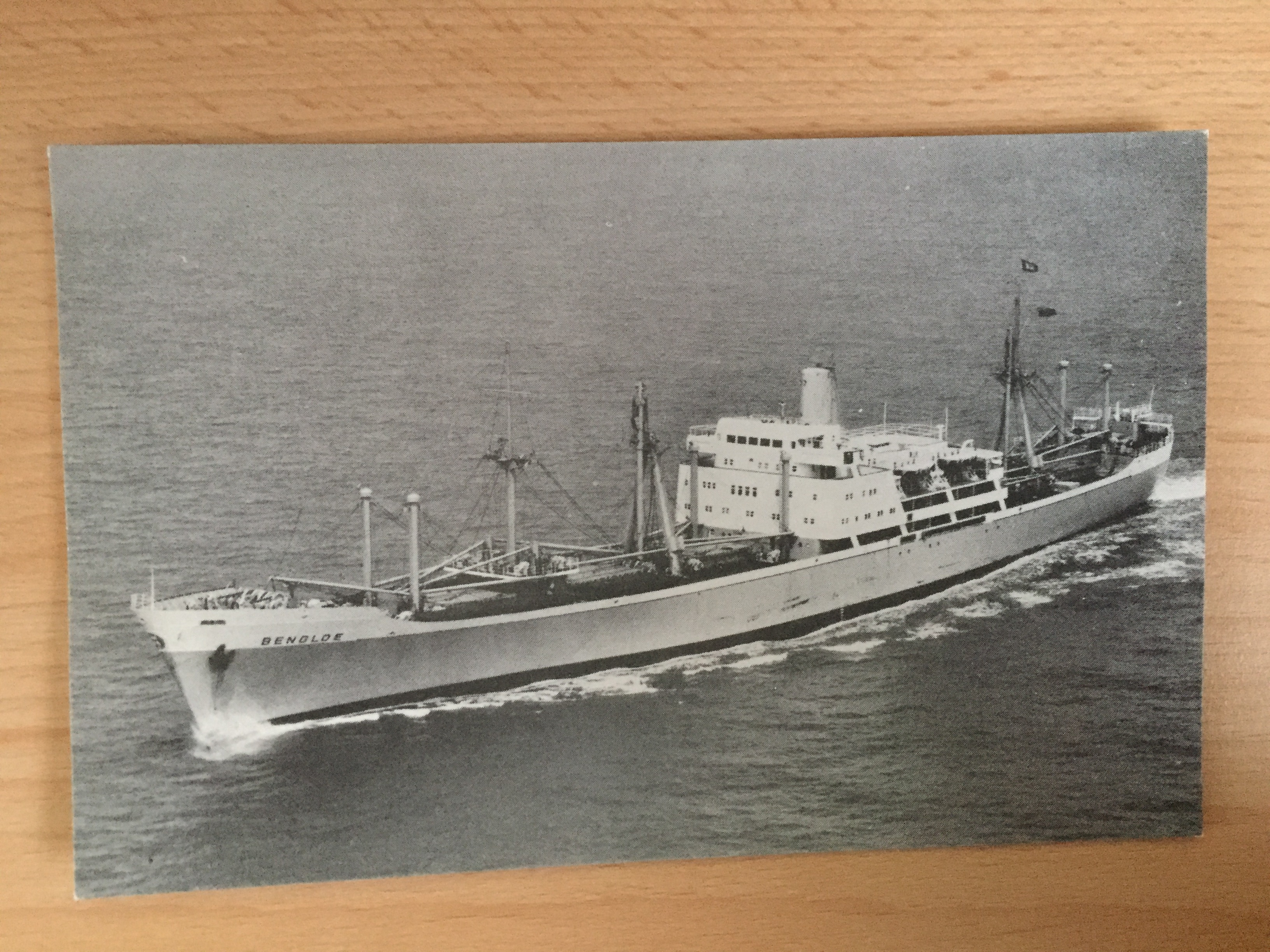 UNUSED B/W POSTCARD FROM THE VESSEL THE BENGLOE FROM THE BEN LINE