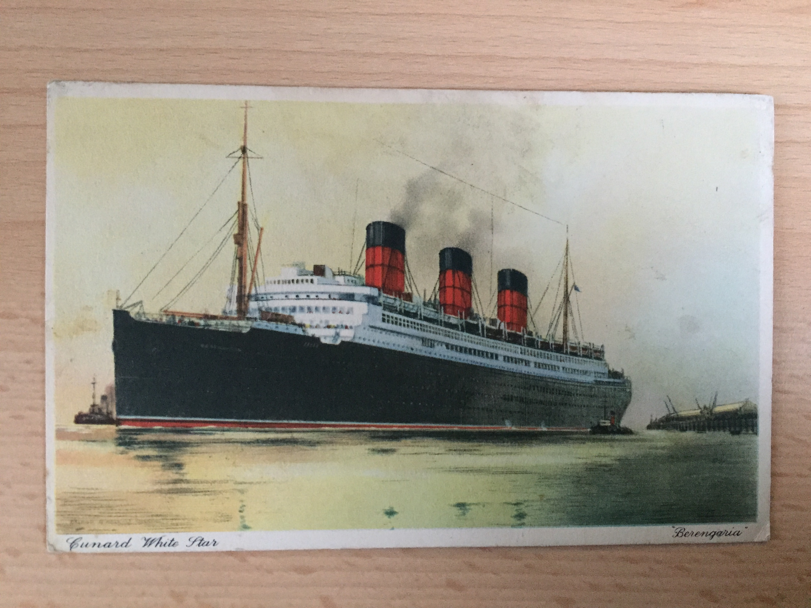 VERY EARLY COLOUR POSTCARD FROM THE VESSEL THE BERENGARIA OF THE CUNARD WHITESTAR LINE