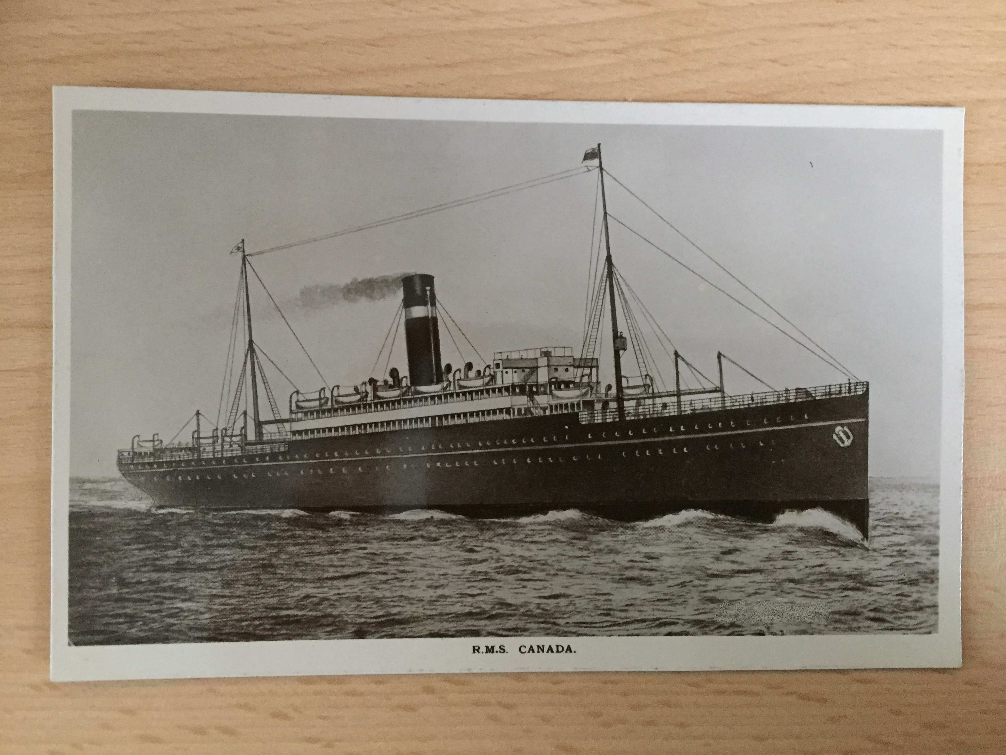 B/W POSTCARD FROM THE ANCHOR DONALDSON LINE VESSEL CANADA