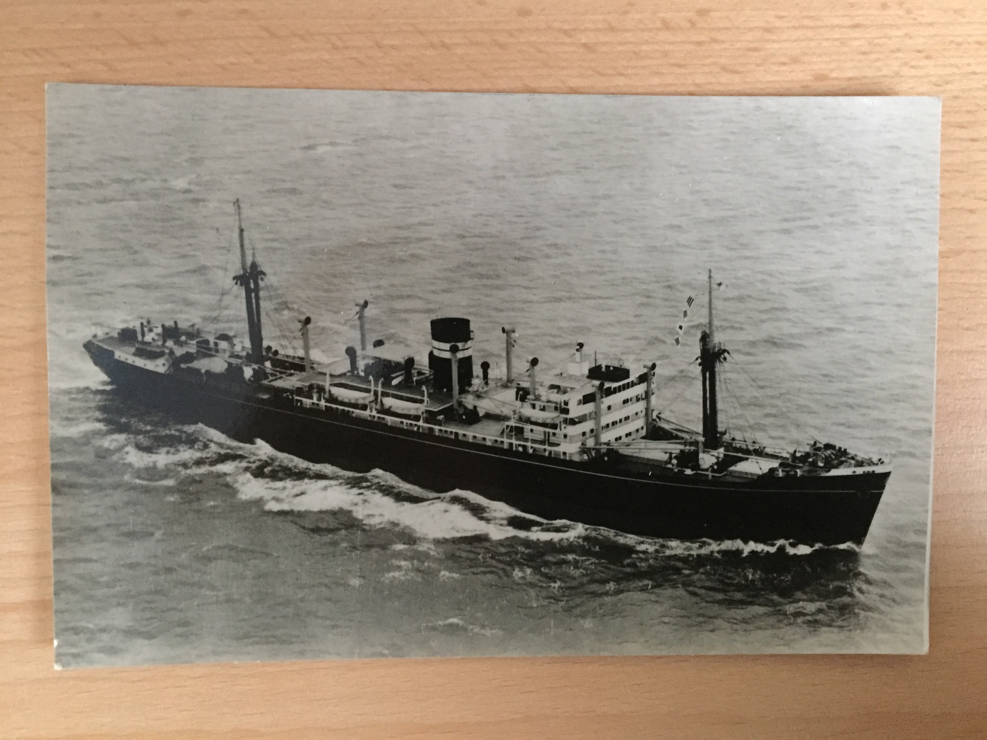 B/W POSTCARD FROM THE VESSEL CANARA FROM THE BRITISH INDIA STEAM NAVIGATION COMPANY