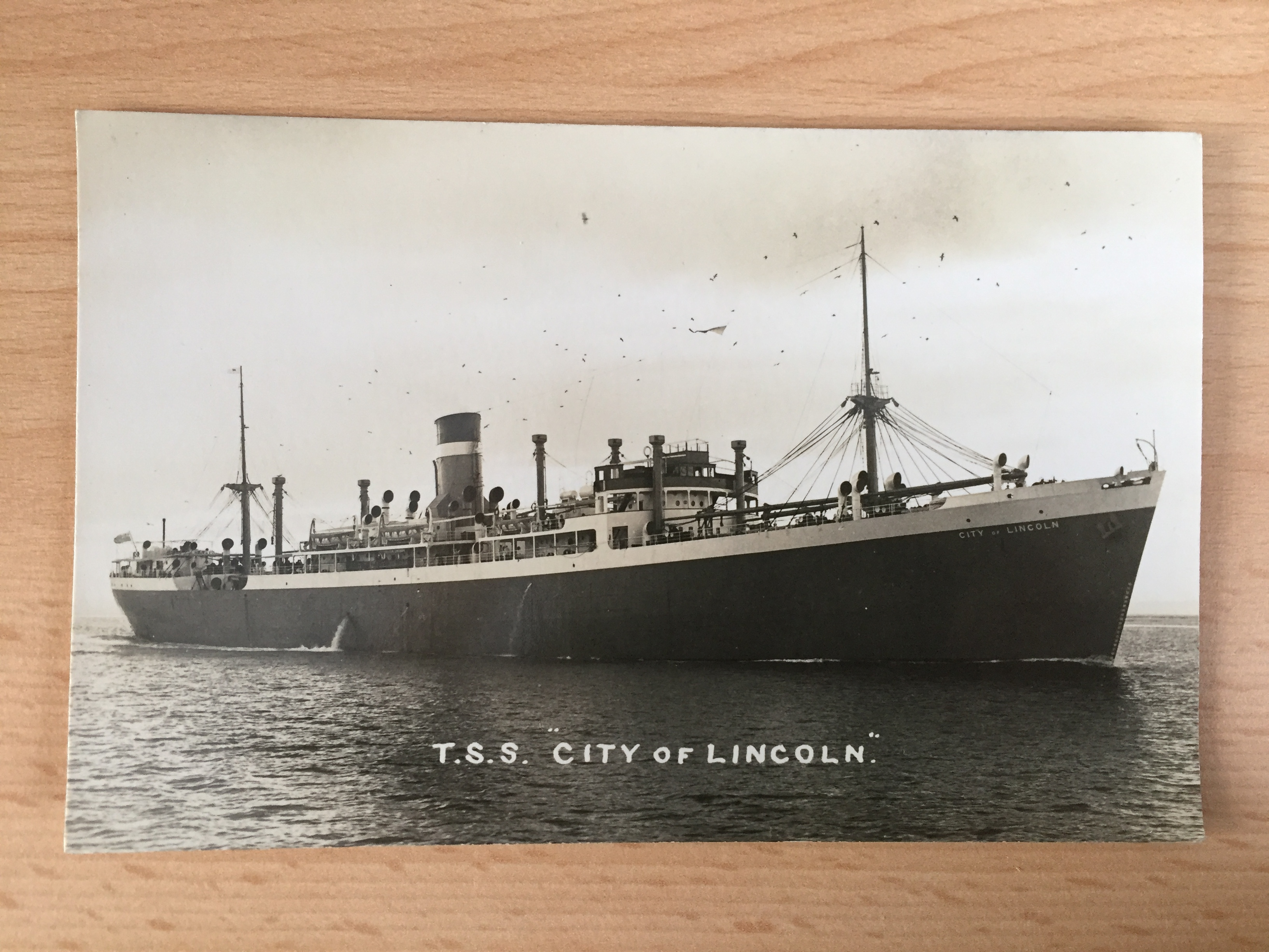 EARLY UNUSED B/W POSTCARD FROM THE VESSEL THE CITY OF LINCOLN FROM THE ELLERMAN LINES