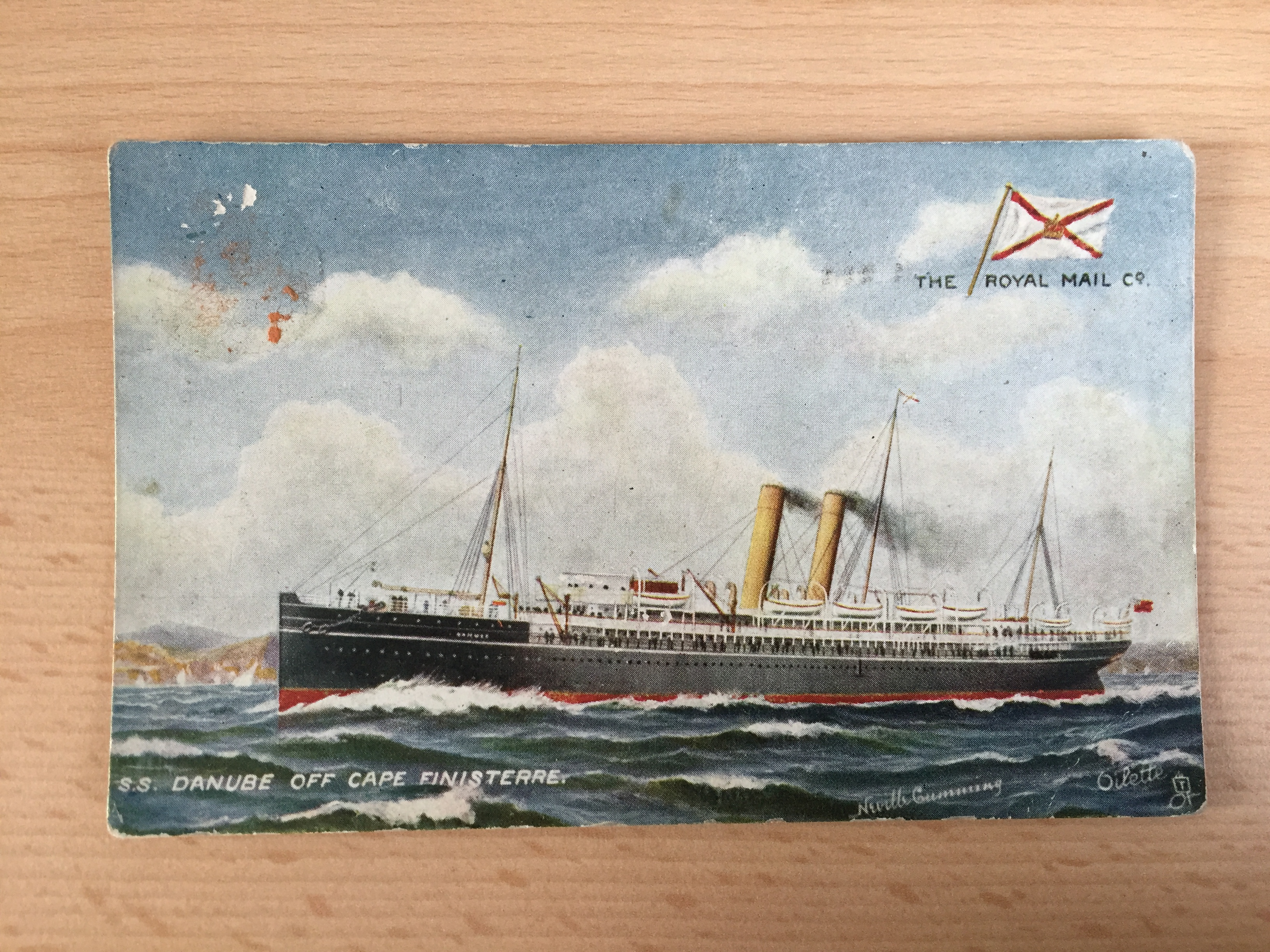 UNUSED VERY EARLY COLOUR POSTCARD FROM THE ROYAL MAIL LINE VESSEL THE DANUBE