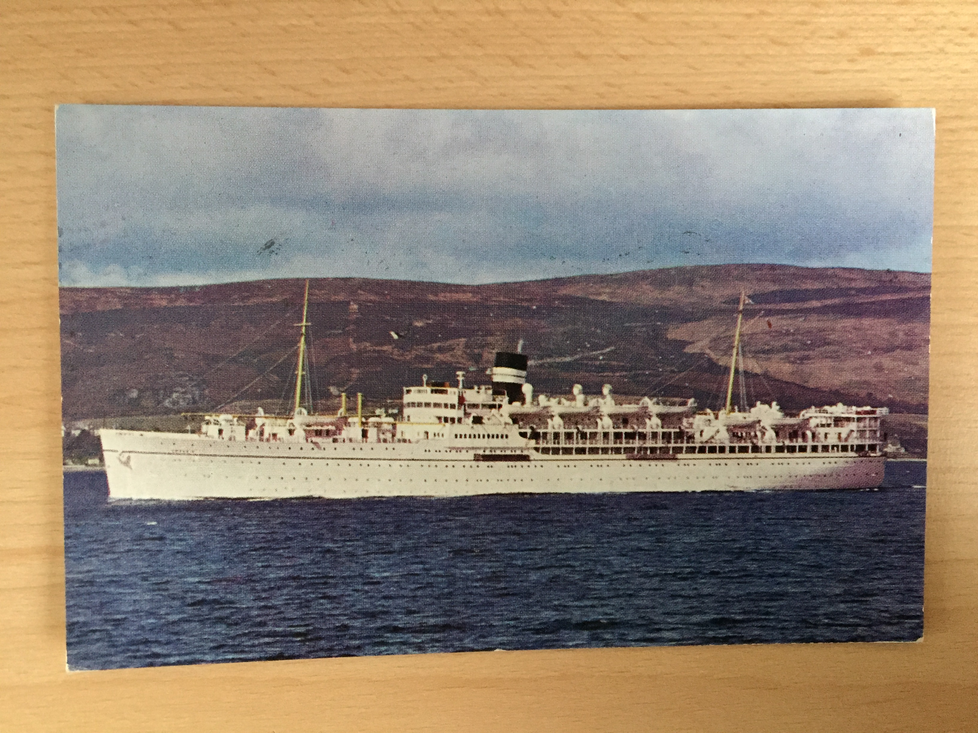 USED COLOUR POSTCARD FROM THE VESSEL MS DEVONIA FROM THE BRITISH INDIA STEAM NAVIGATION COMPANY