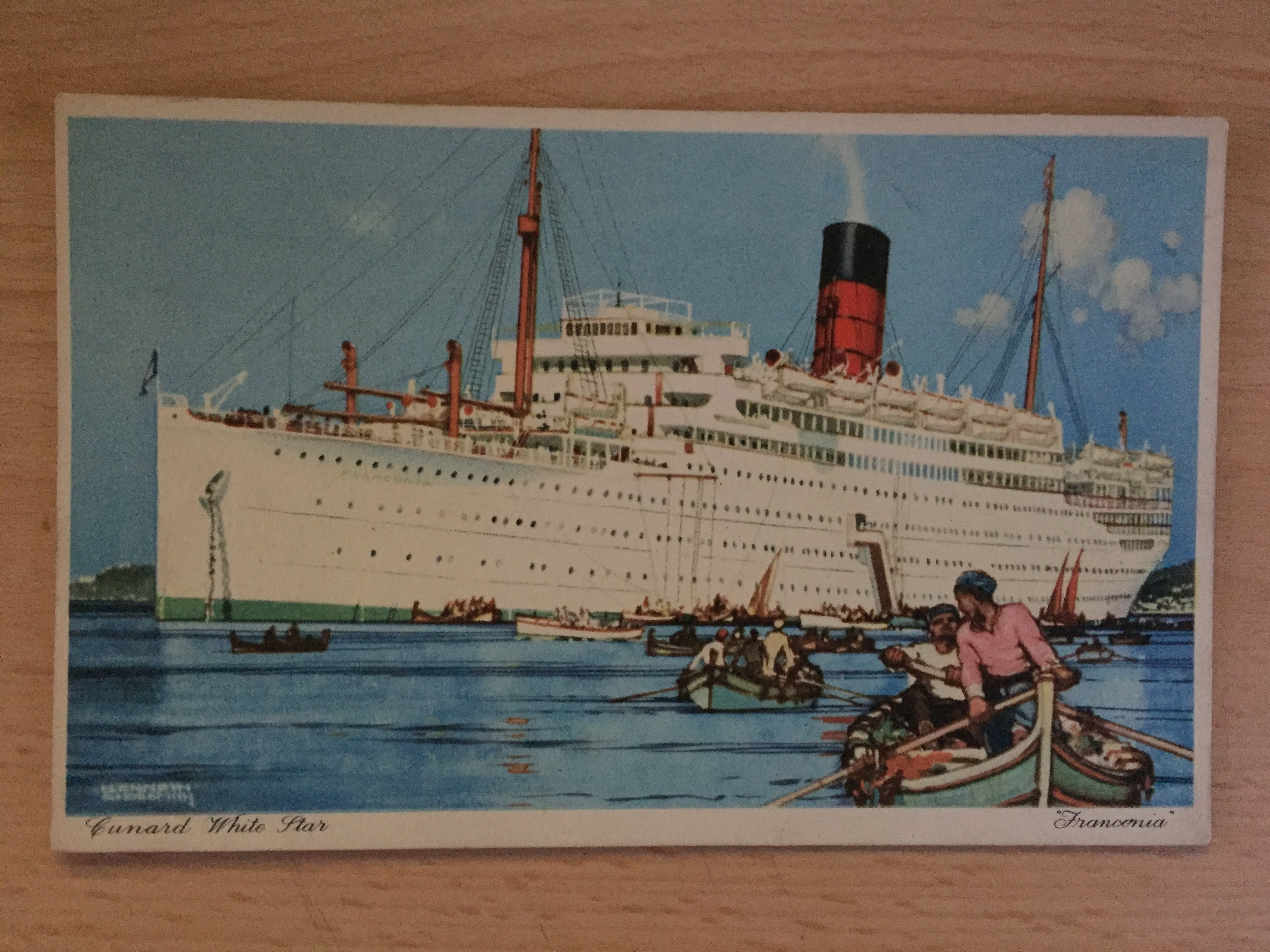 UNUSED RARE COLOUR POSTCARD FROM THE CUNARD LINE VESSEL THE RMS FRANCONIA