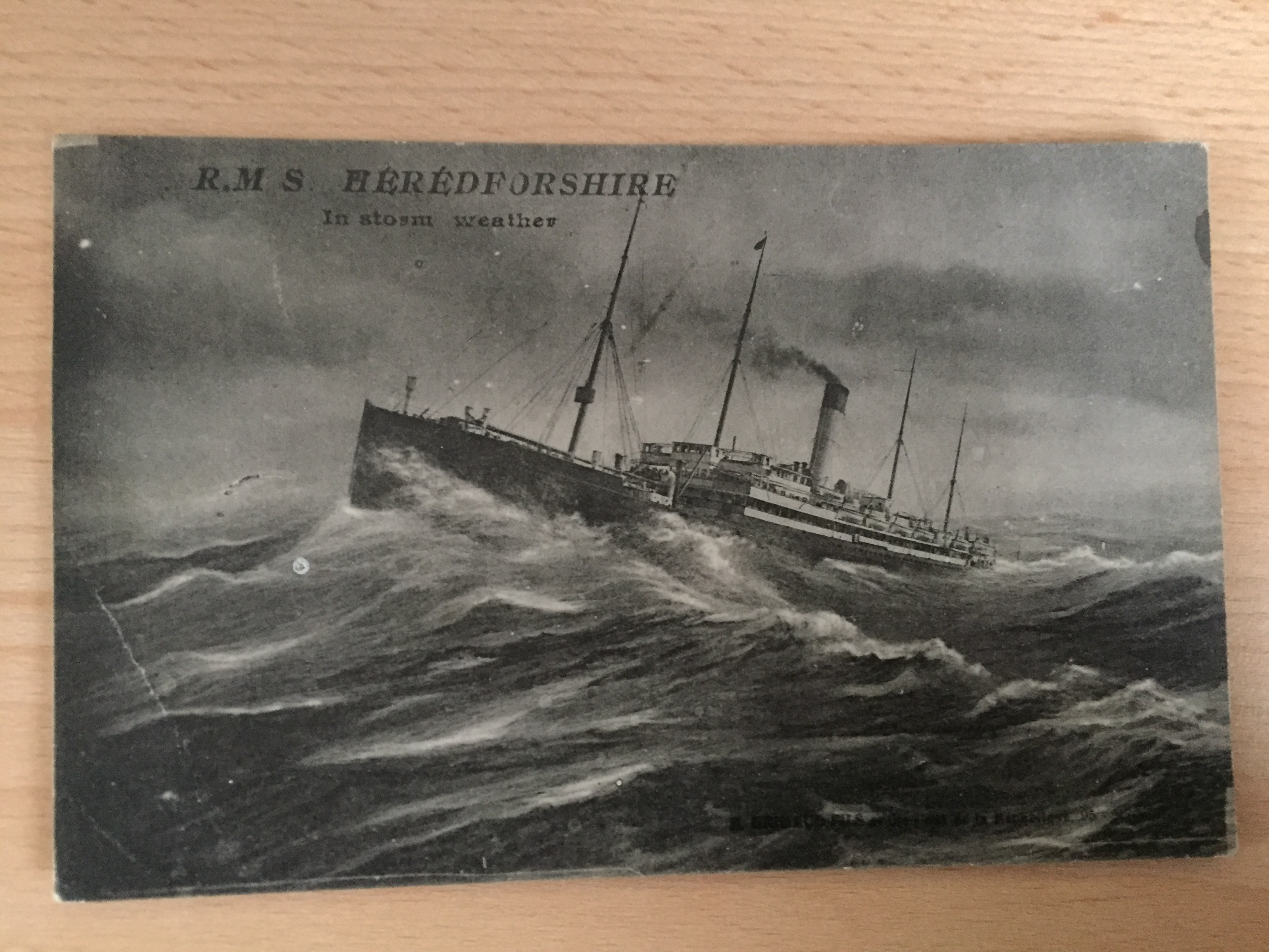 EARLY B/W POSTCARD FROM THE BIBBY LINE VESSEL THE HEREDFORDSHIRE