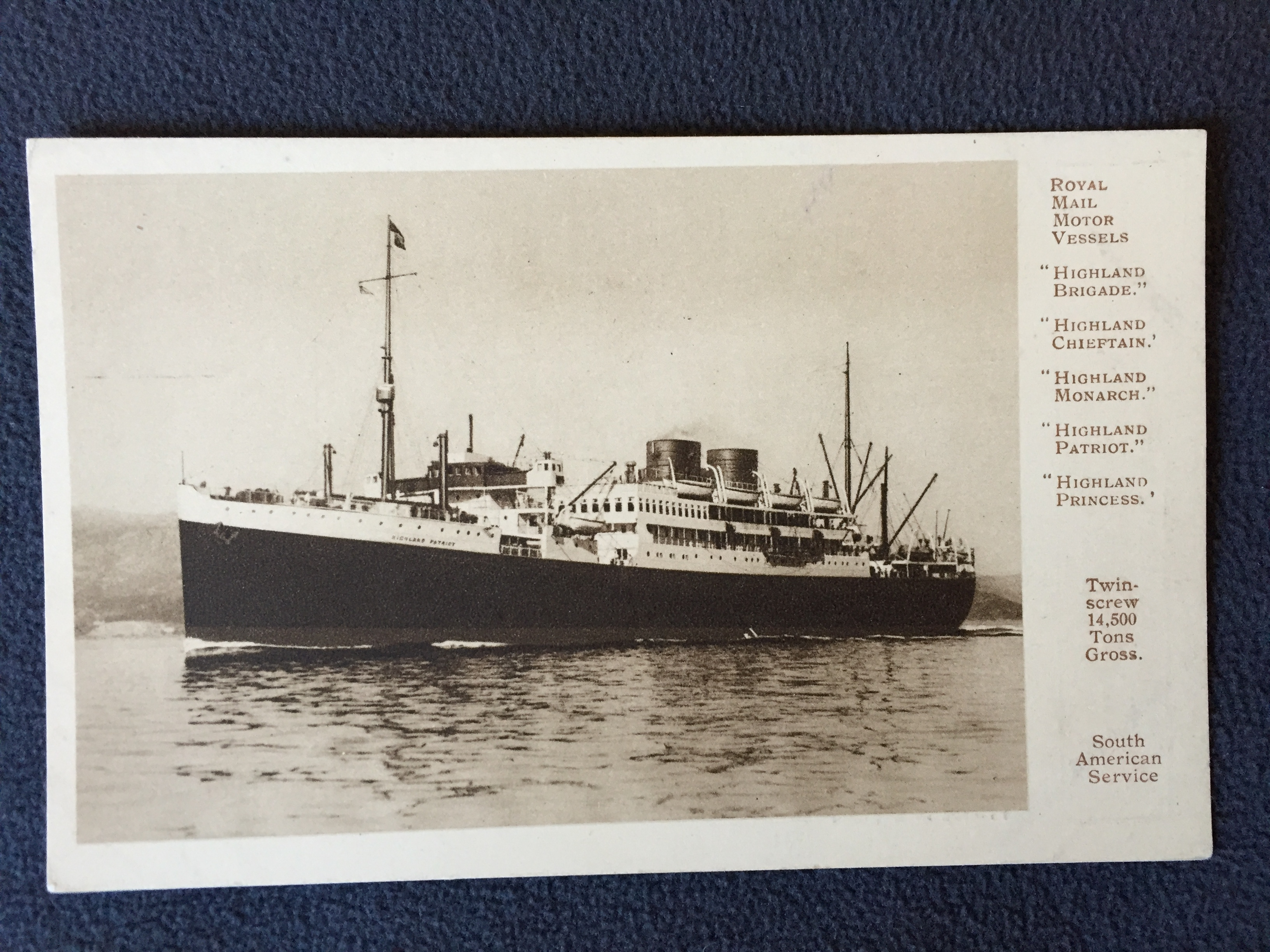 B/W UNUSED POSTCARD OF THE HIGHLAND PATRIOT FROM THE ROYAL MAIL LINE