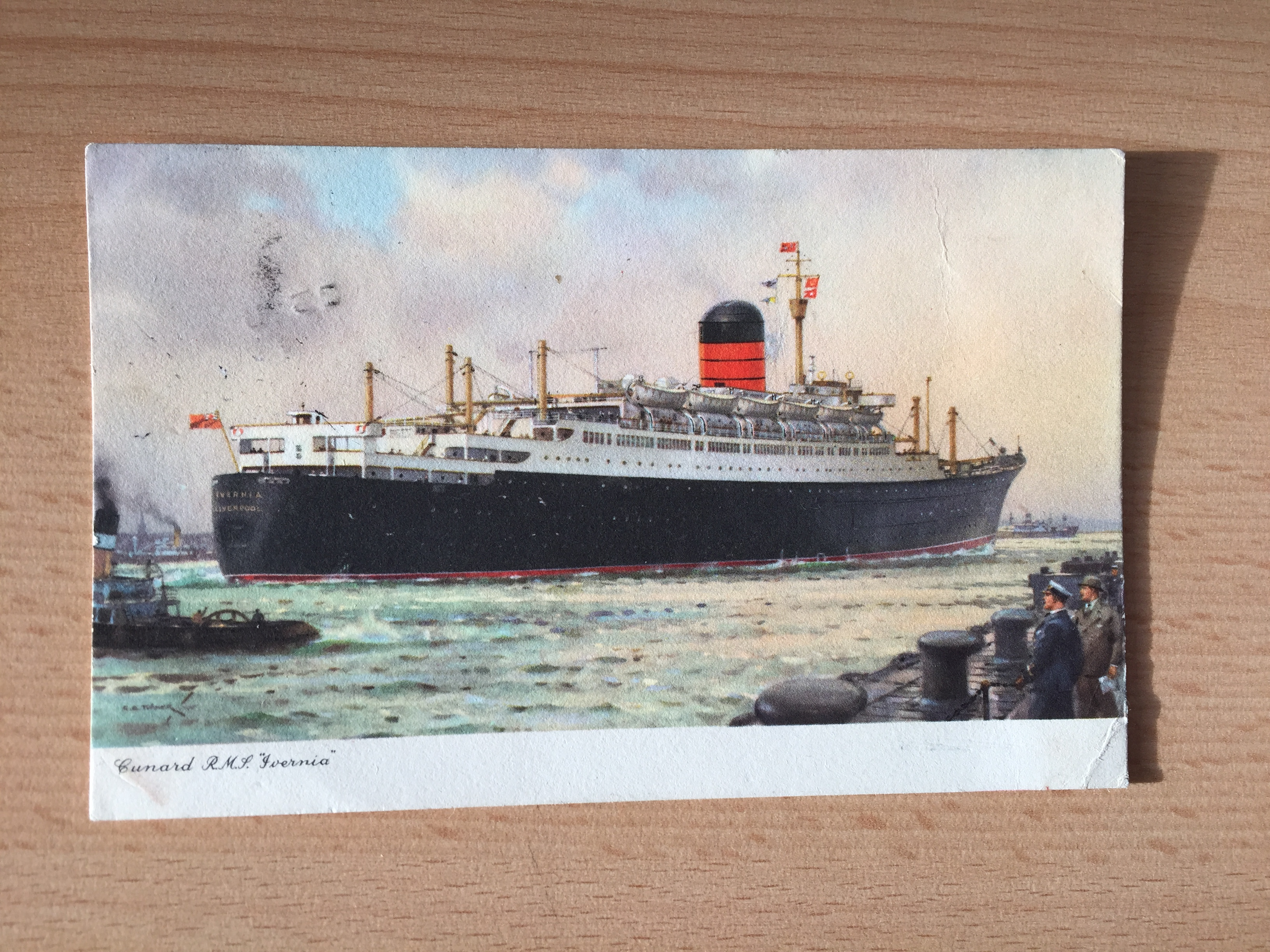 UNUSED COLOUR POSTCARD OF THE CUNARD LINE VESSESL THE RMS IVERNIA