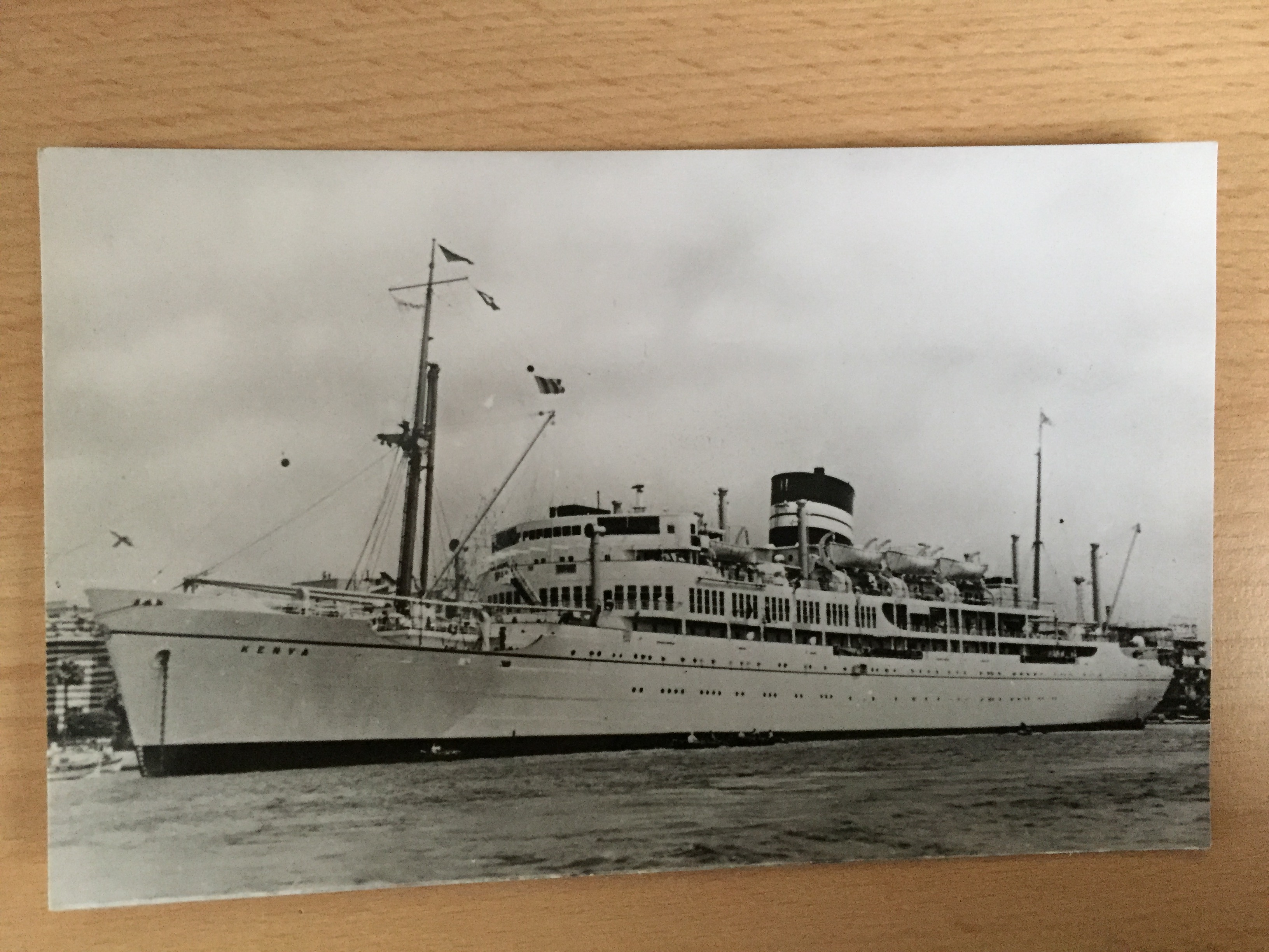 EARLY B/W POSTCARD FROM THE VESSEL KENYA FROM THE BRITISH INDIA STEAM NAVIGATION COMPANY
