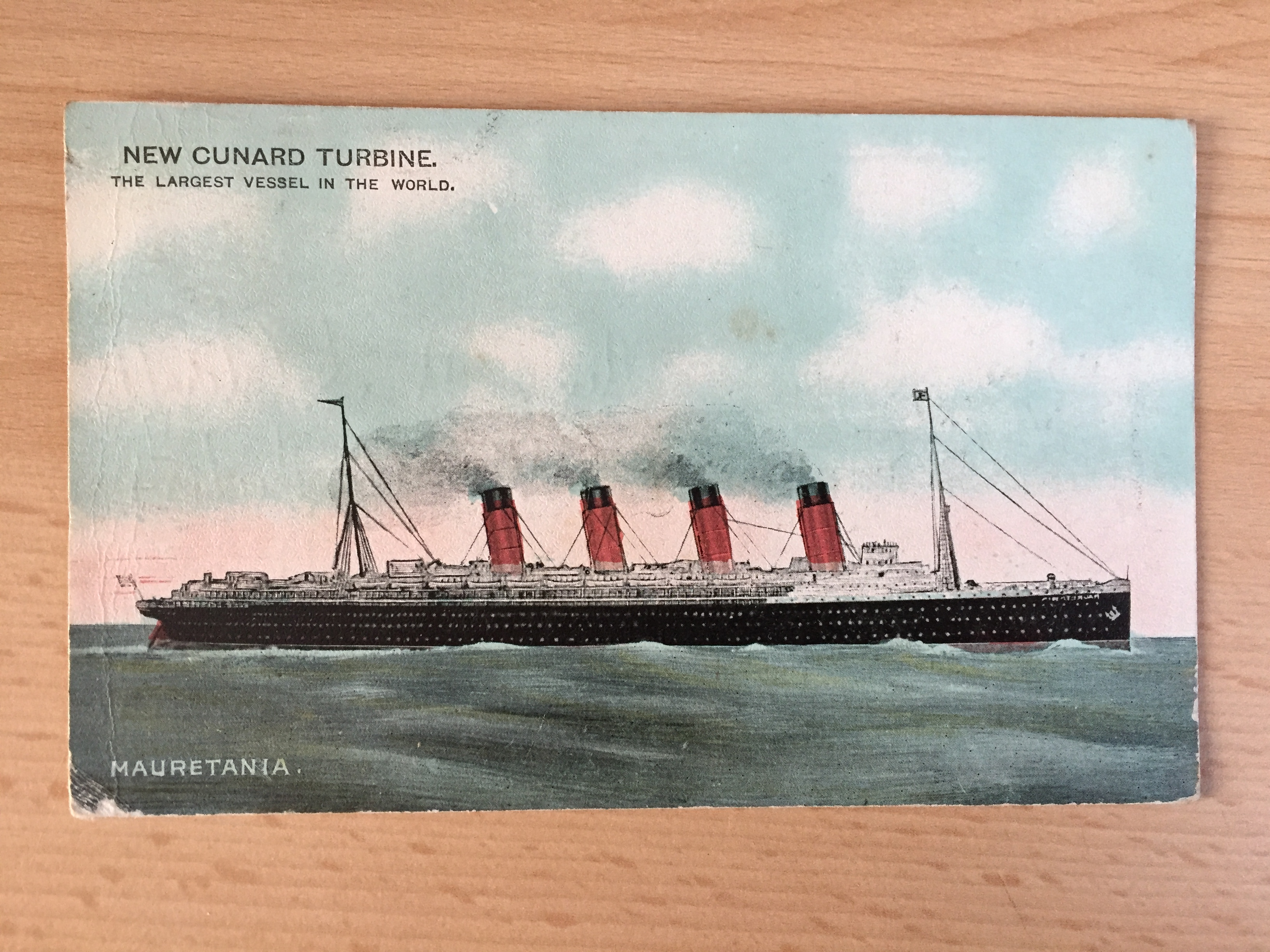 USED COLOUR POSTCARD OF THE FAMOUS OLD VESSEL THE RMS MAURETANIA