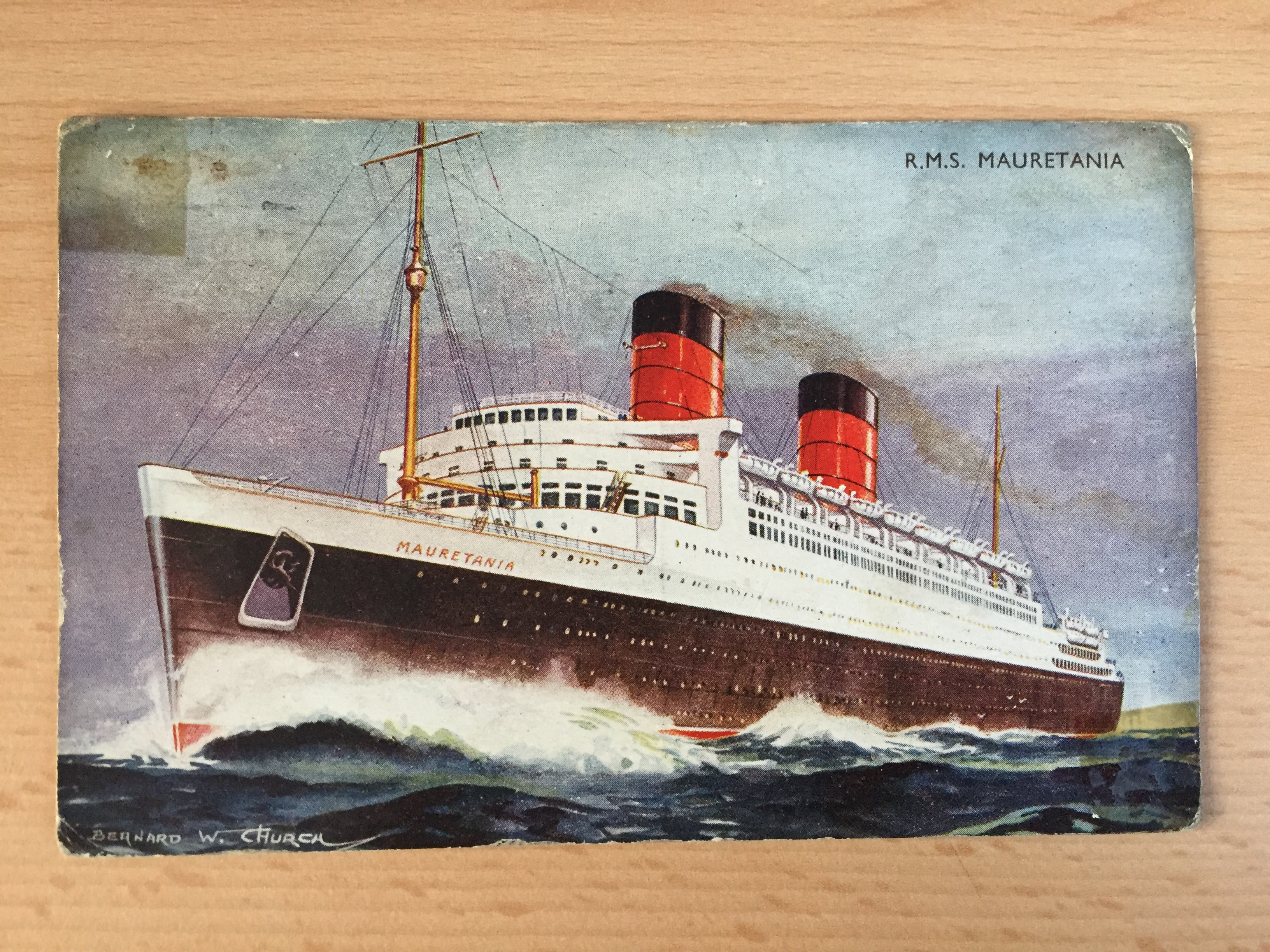 VERY EARLY UNUSED B/W POSTCARD FROM THE WHITE STAR LINE VESSEL THE MAURETANIA