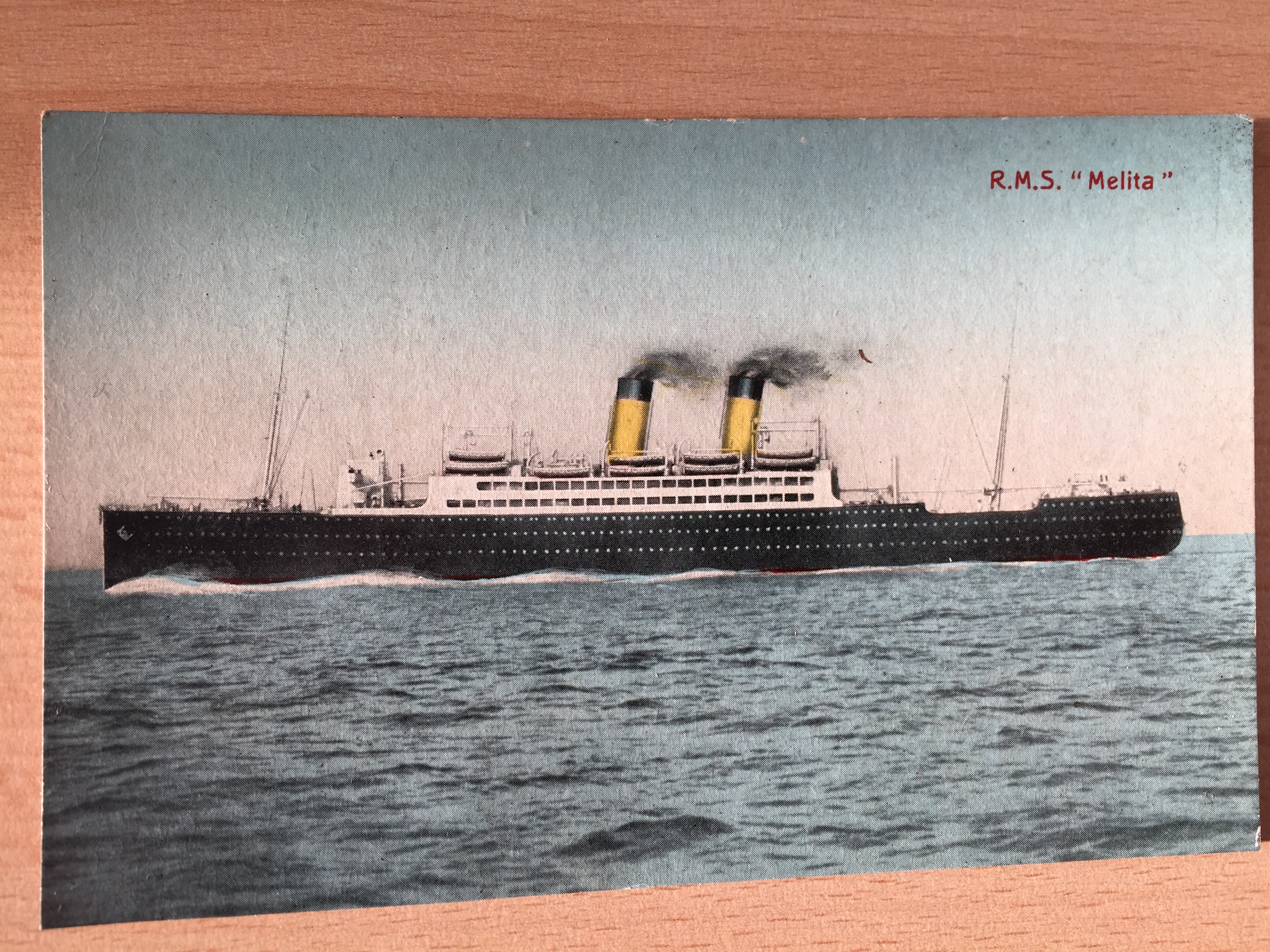 VERY EARLY COLOUR POSTCARD OF THE CANDIAN PACIFIC LINE VESSEL THE MELITA