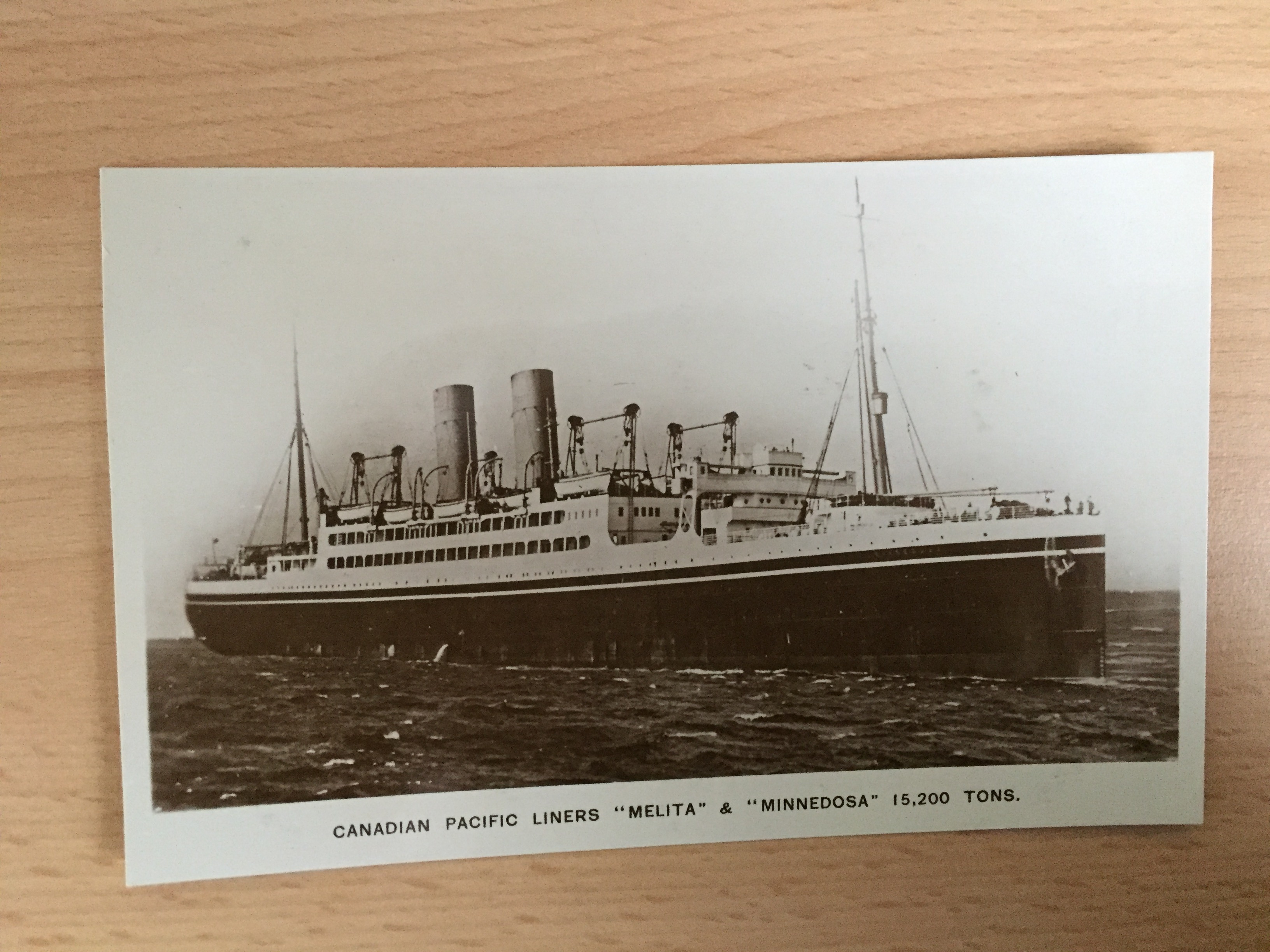 B/W POSTCARD OF THE CANADIAN PACIFIC LINE VESSEL THE MELITA