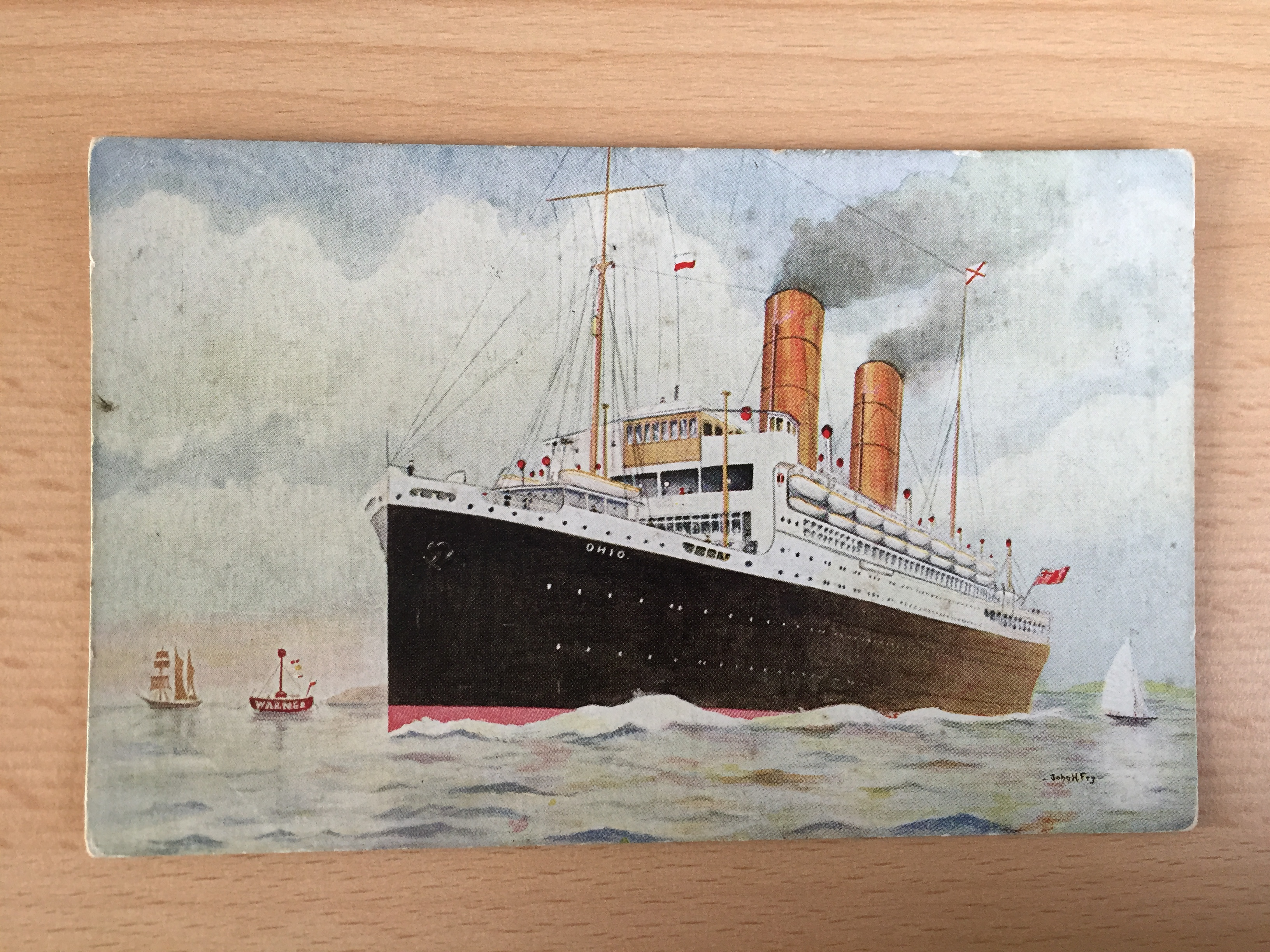 UNUSED COLOUR POSTCARD FROM THE ROYAL MAIL LINE VESSEL THE OHIO