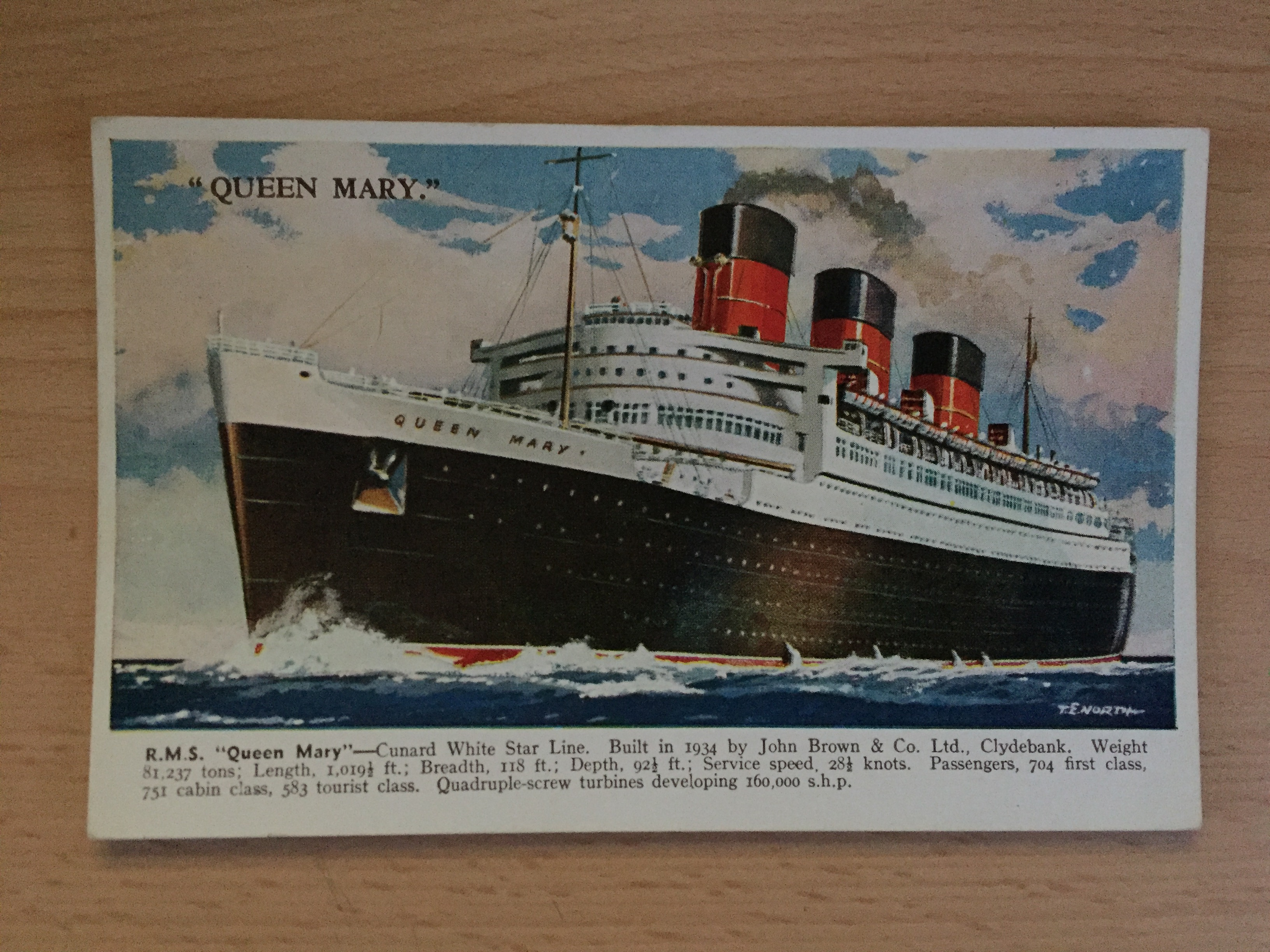 EARLY COLOUR POSTCARD FROM THE CUNARD LINE VESSEL THE RMS QUEEN MARY