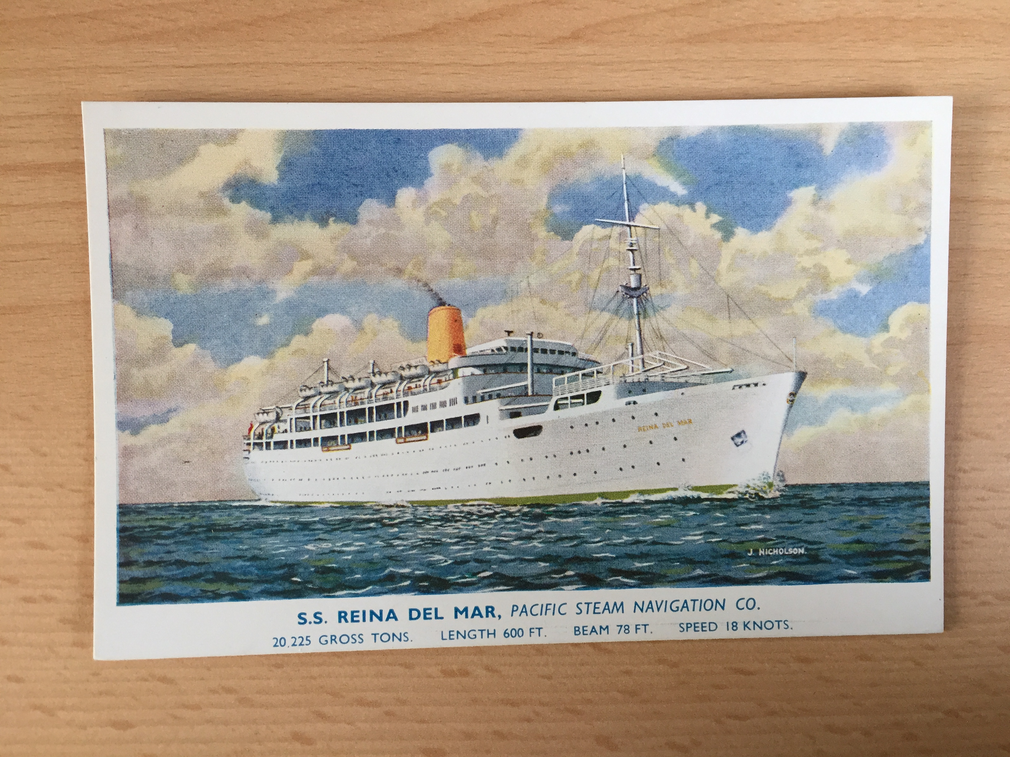 UNUSED COLOUR POSTCARD FROM THE VESSEL THE SS REINA DEL MAR FROM THE PACIFIC STEAM NAVIGATION COMPANY