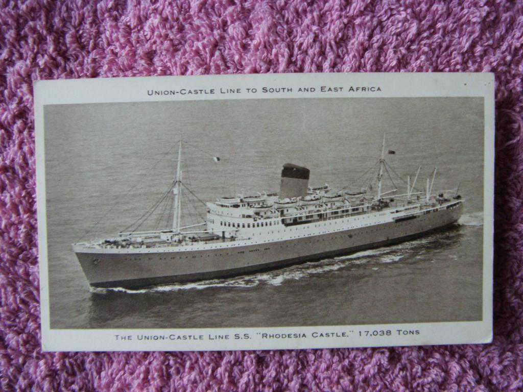 B/W POSTCARD OF THE UNION-CASTLE LINE VESSEL THE SS RHODESIA CASTLE
