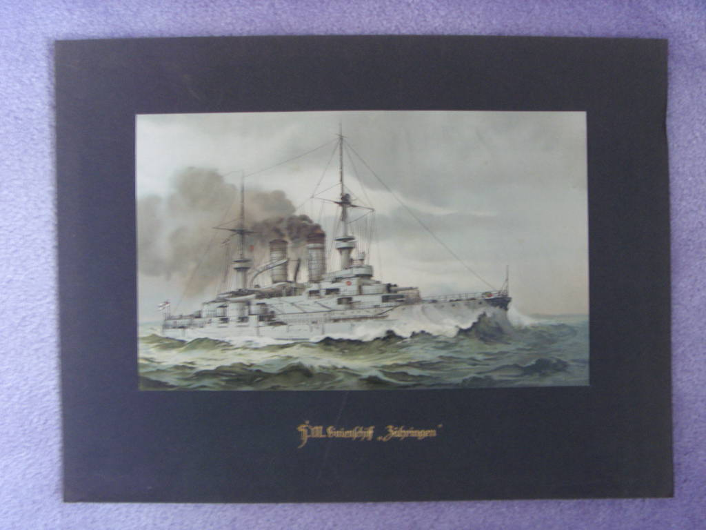 COLOUR PRINT OF THE GERMAN IMPERIAL BATTLESHIP 'ZAHRINGEW' BUILT 1901