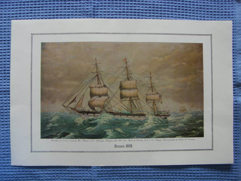 FULL COLOUR PRINT OF THE BEN LINE VESSEL THE BENAN 1875