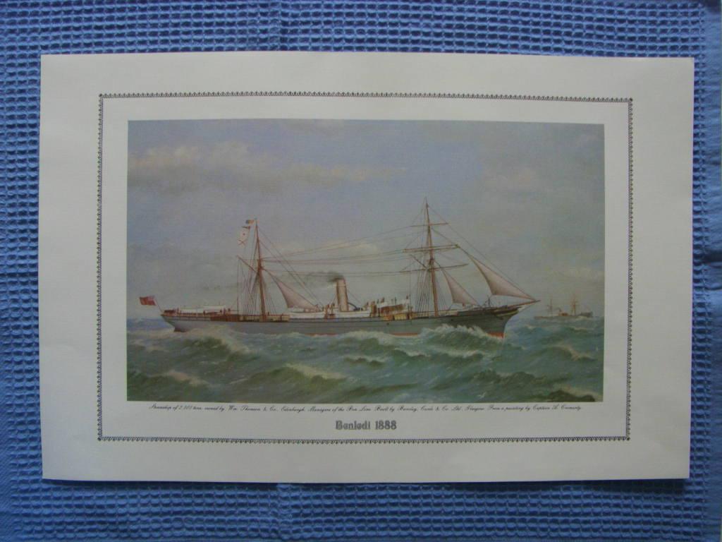 FULL COLOUR PRINT OF THE BEN LINE VESSEL THE BENLEDI 1888