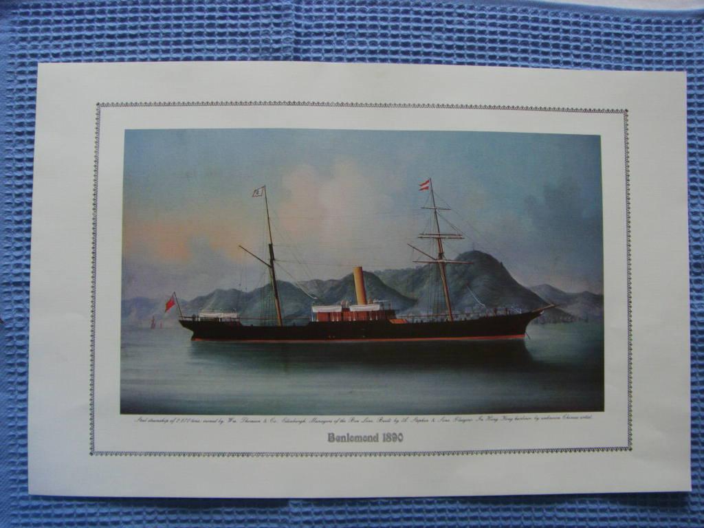 FULL COLOUR PRINT OF THE BEN LINE VESSEL THE BENLOMOND 1890