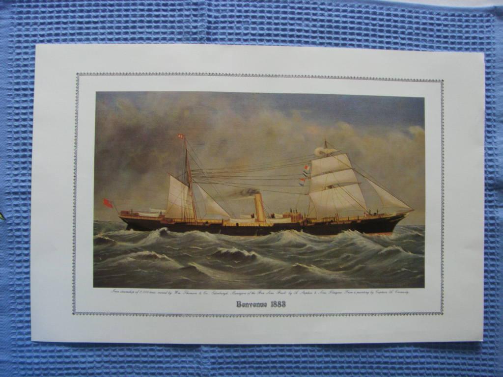 FULL COLOUR PRINT OF THE BEN LINE VESSEL THE BENVENUE 1883