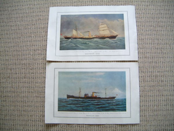 PAIR OF ORIGINAL OLD PRINTS FROM THE BEN LINE SHIPPING COMPANY