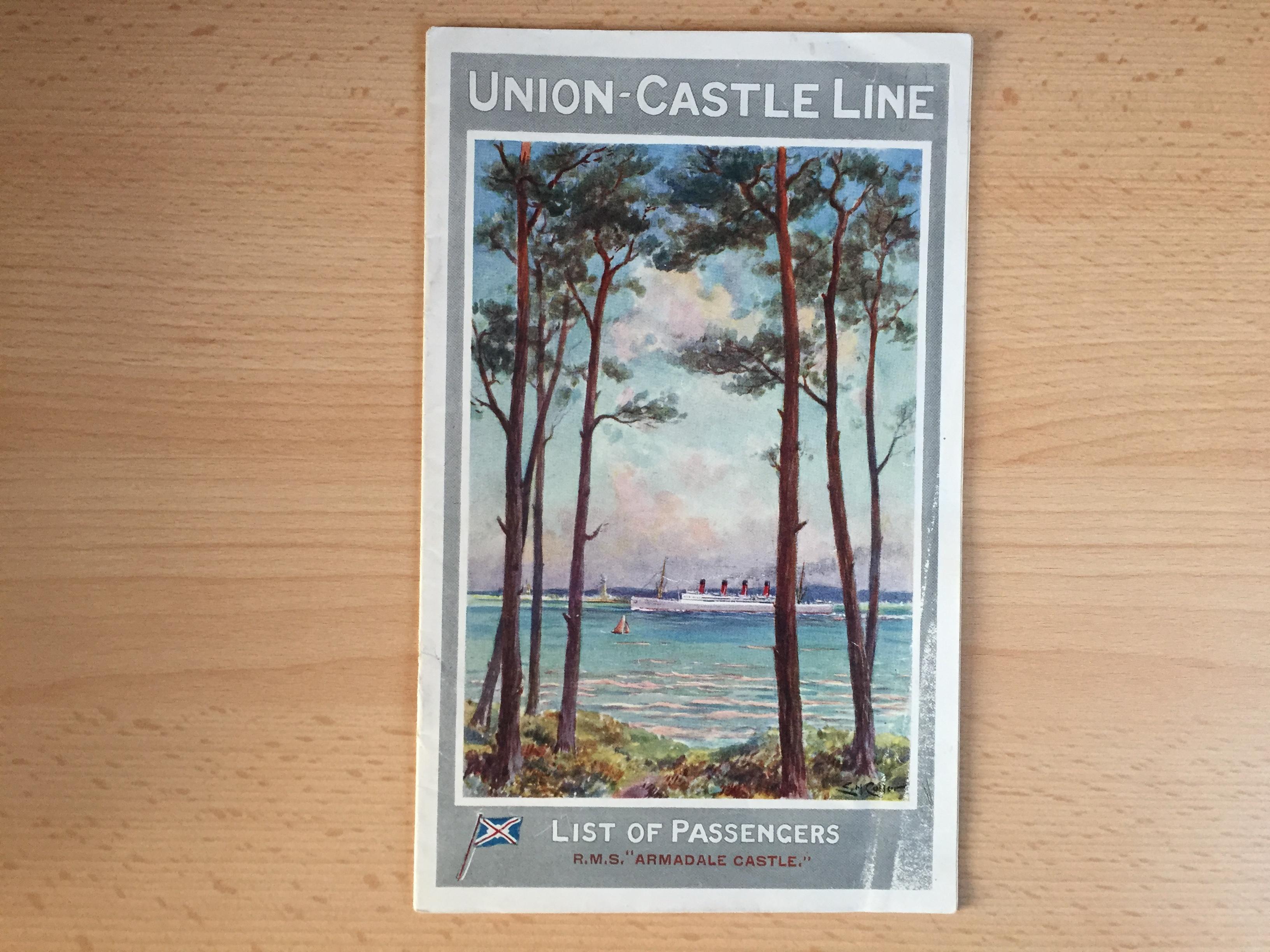 PASSENGER LIST FROM THE UNION CASTLE LINE VESSEL THE ARMADALE CASTLE DATED 1924