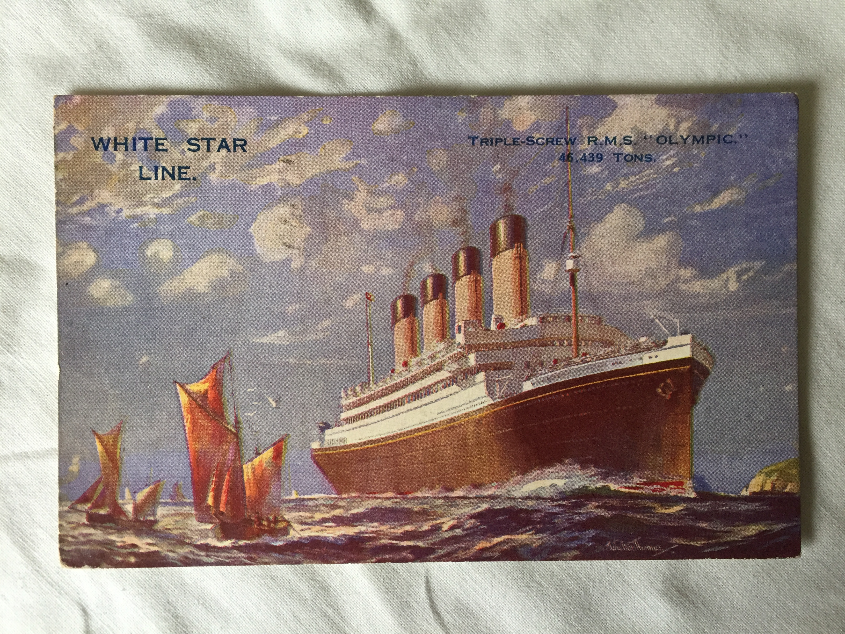 USED COLOUR POSTCARD FROM THE RMS OLYMPIC DATED 1928